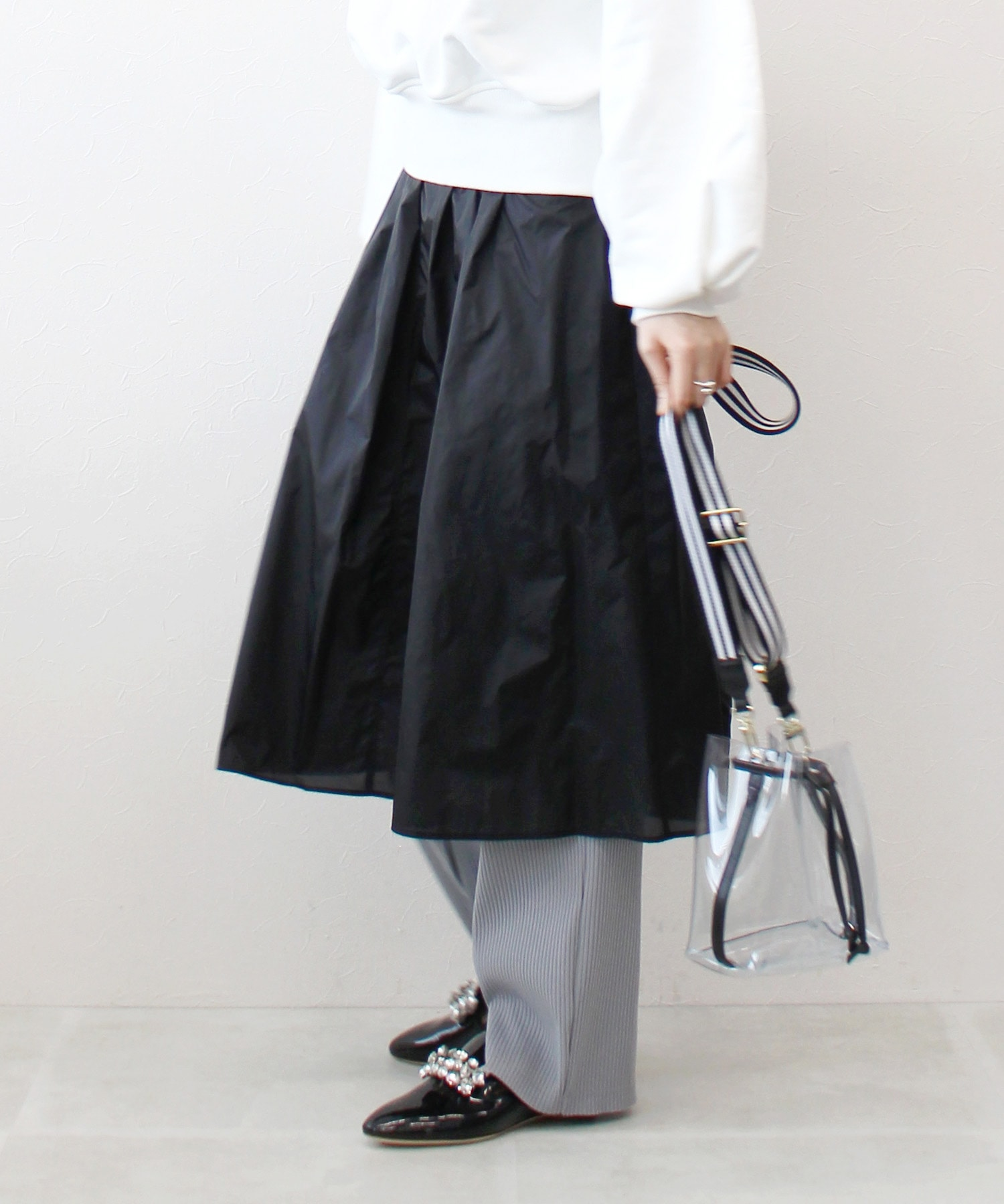 sheer nylon layered skirt
