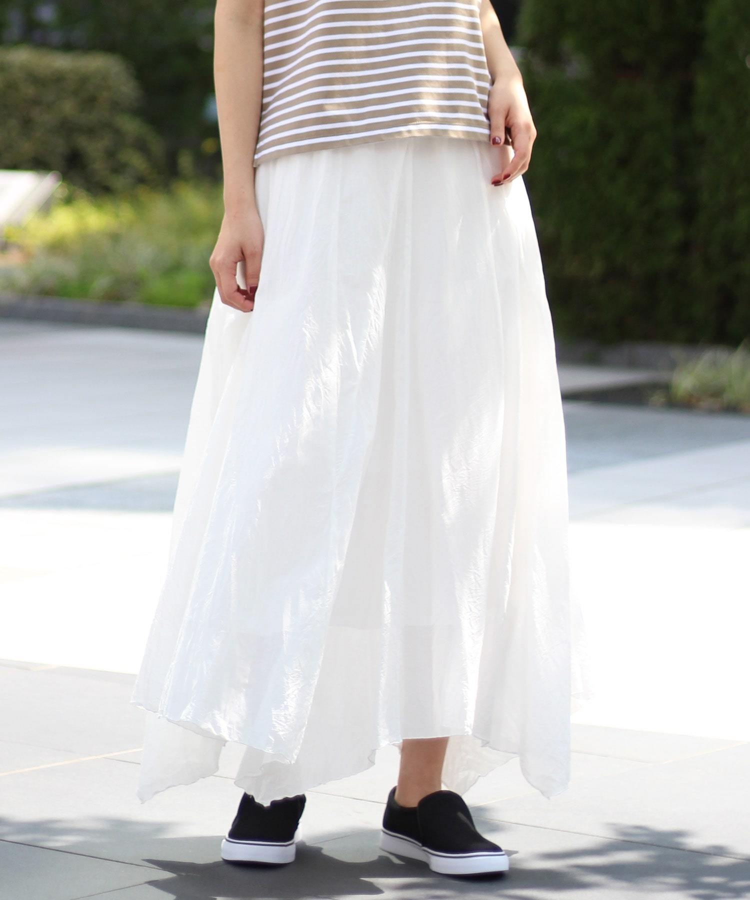 silk cotton asymmetric skirt