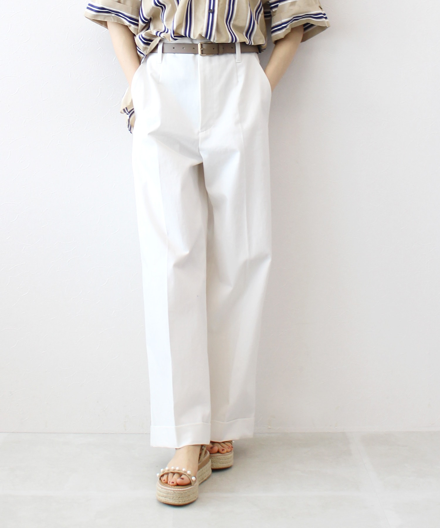 cotton nylon chino wide pants