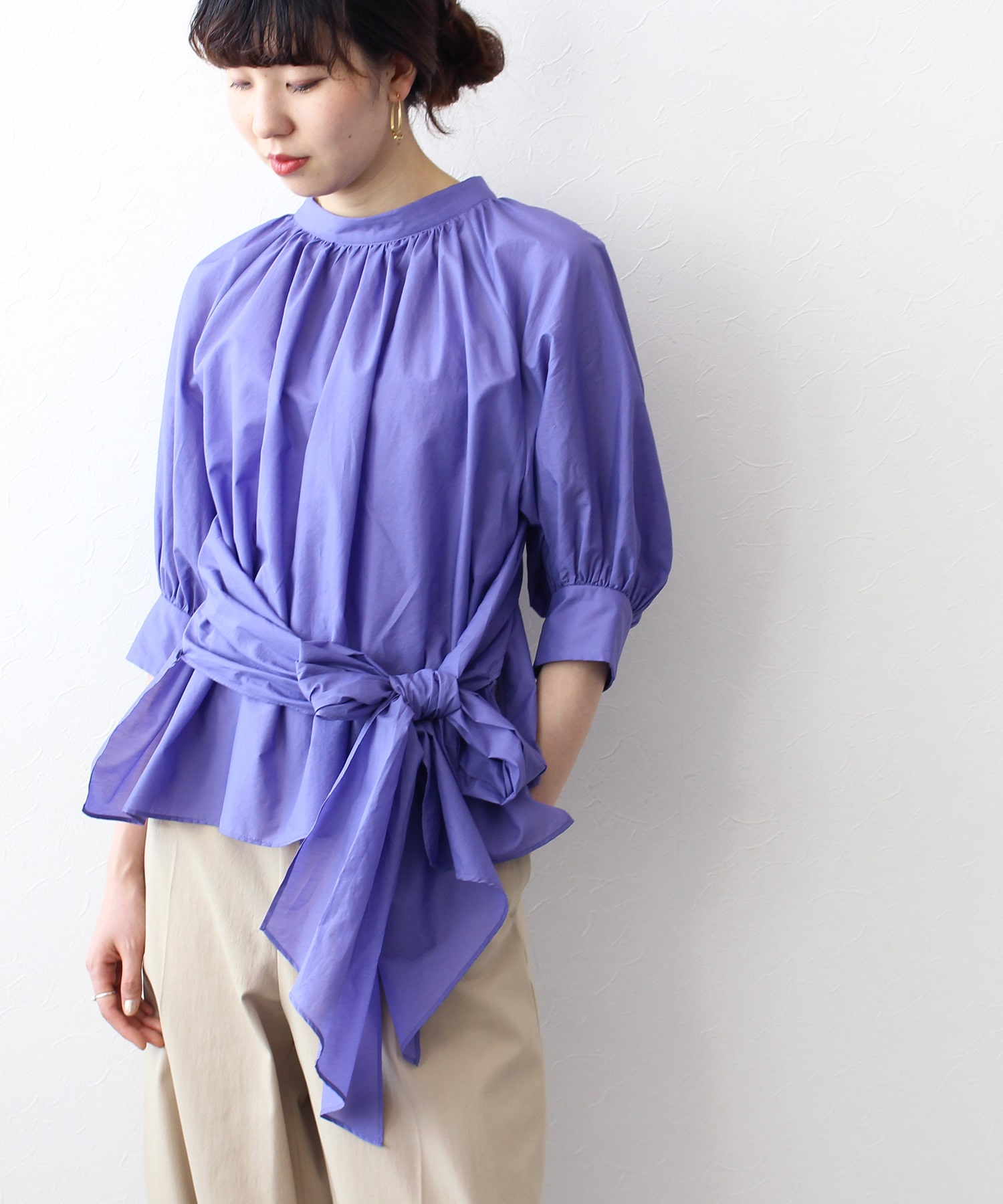 airy waist ribbon blouse