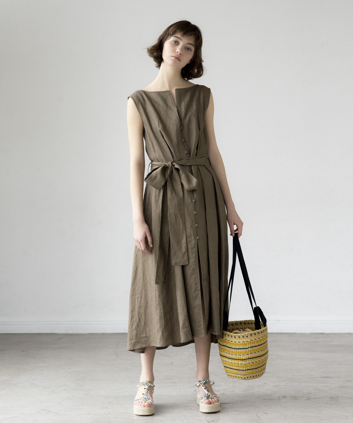 linen belt ribbon dress