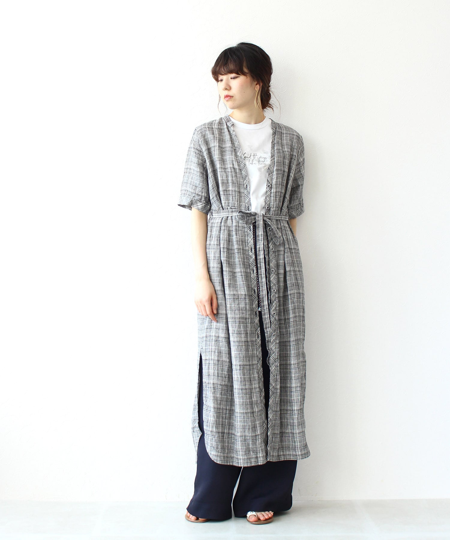linen check shirt dress