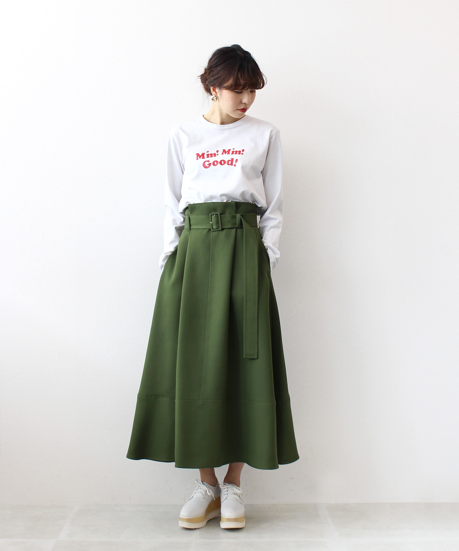 Al dente belt flare skirt