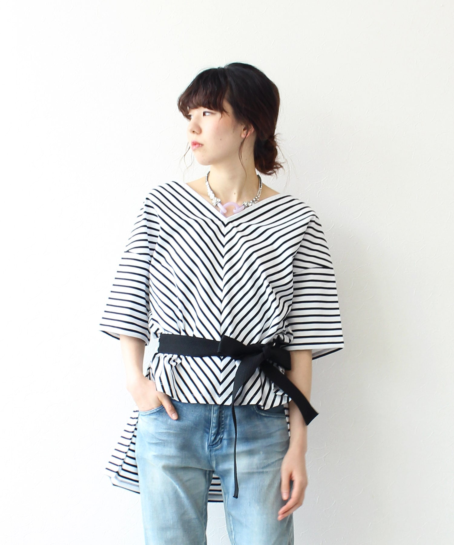 cotton border tee herringbone belt