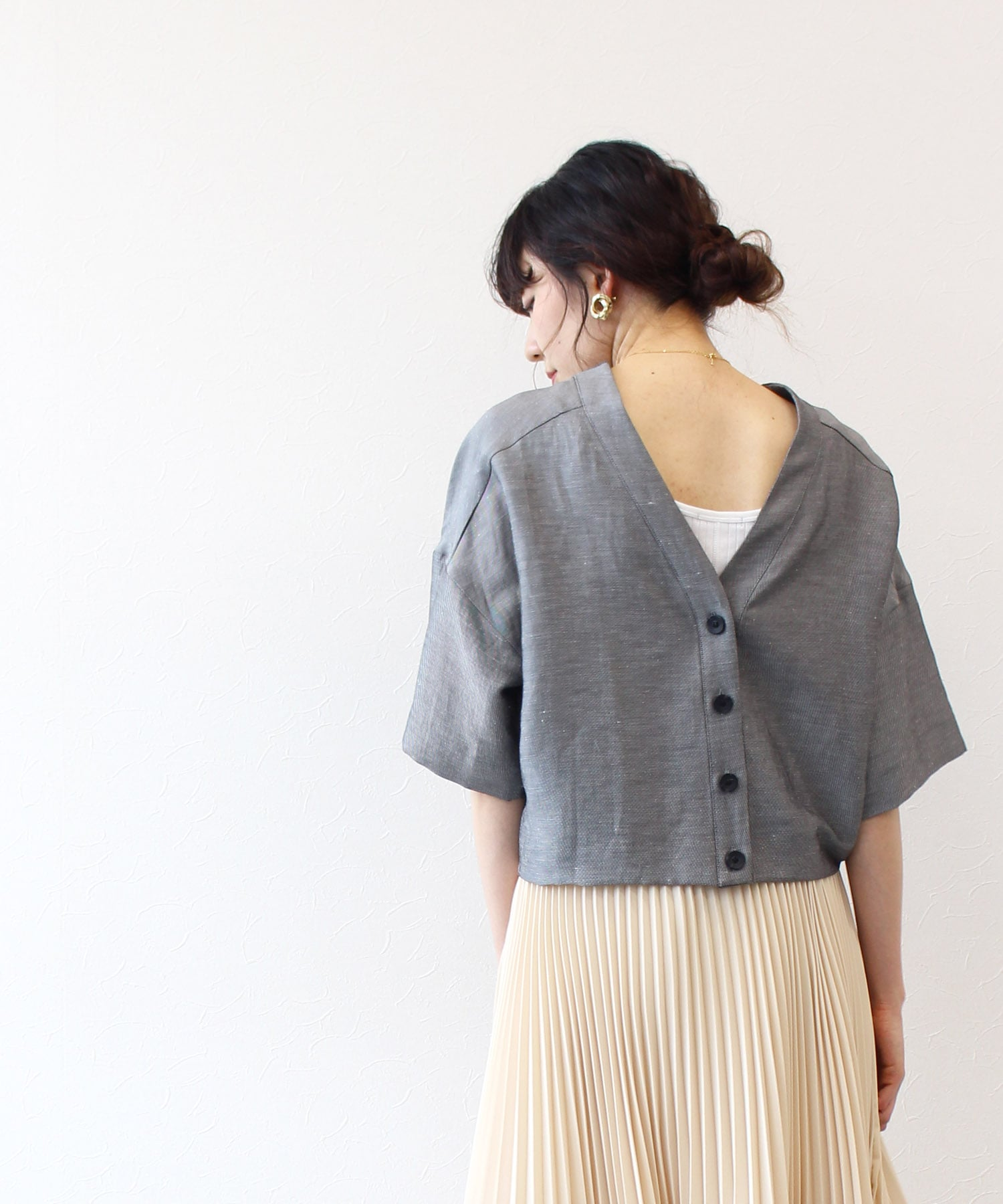 triacetate linen pullover cardigan