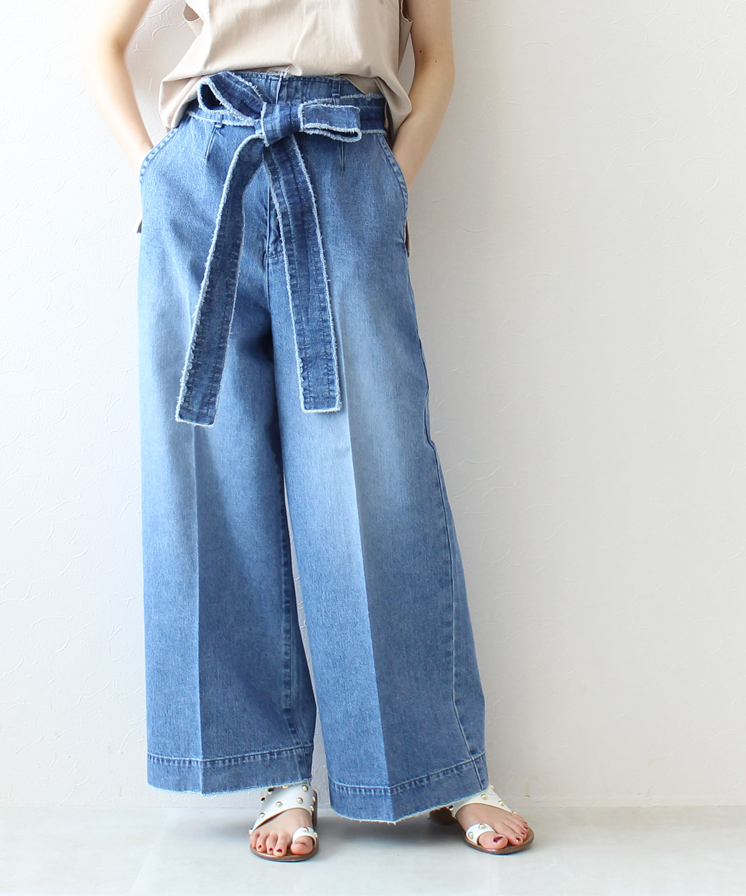 denim waist belt wide pants