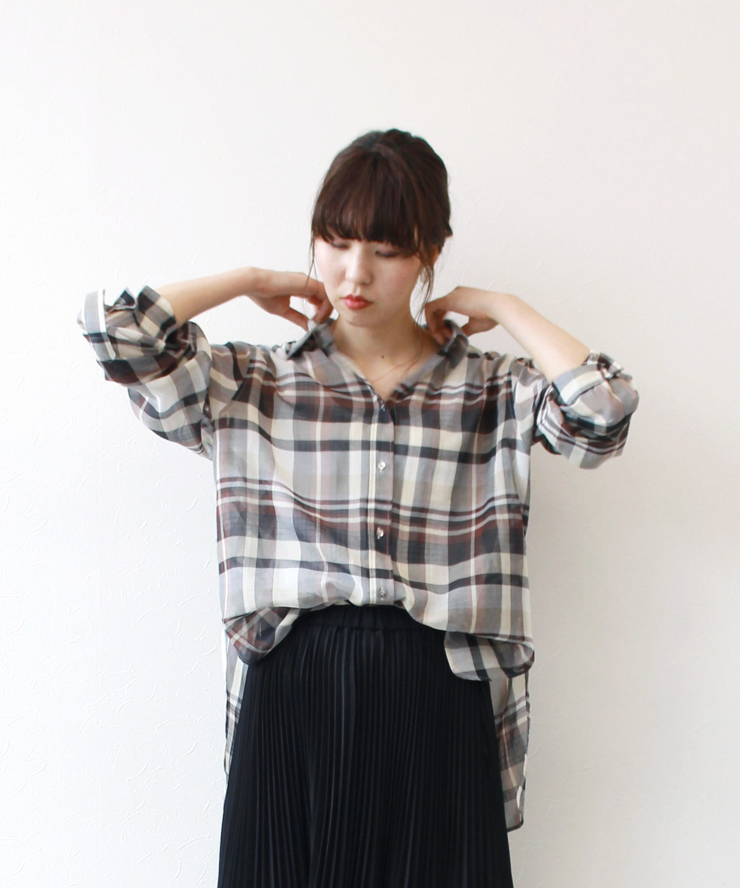 cotton gauze check shirt
