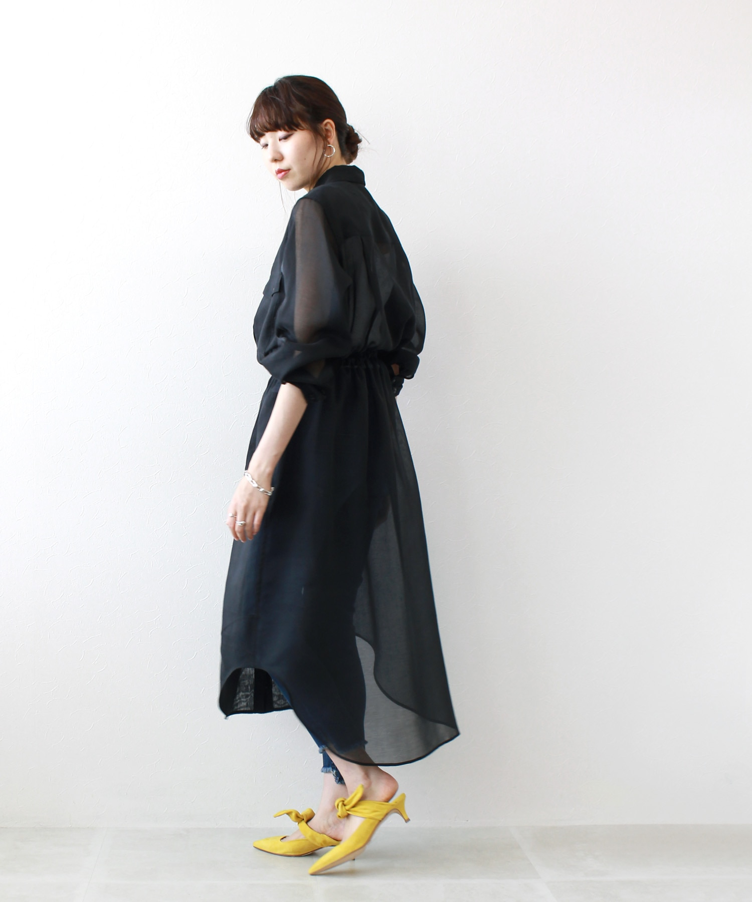 soft organdy spindle shirt dress