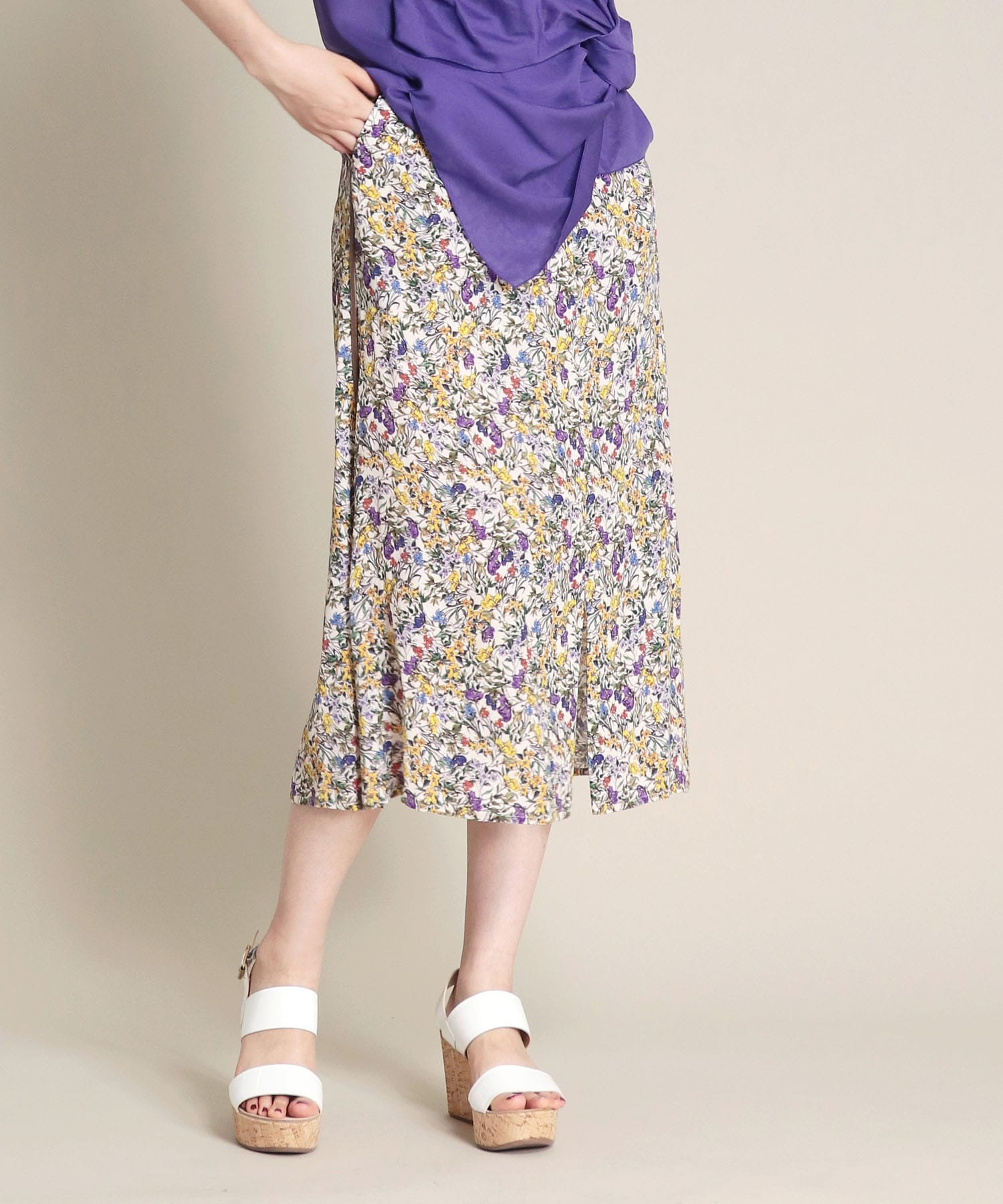colorful flower print skirt