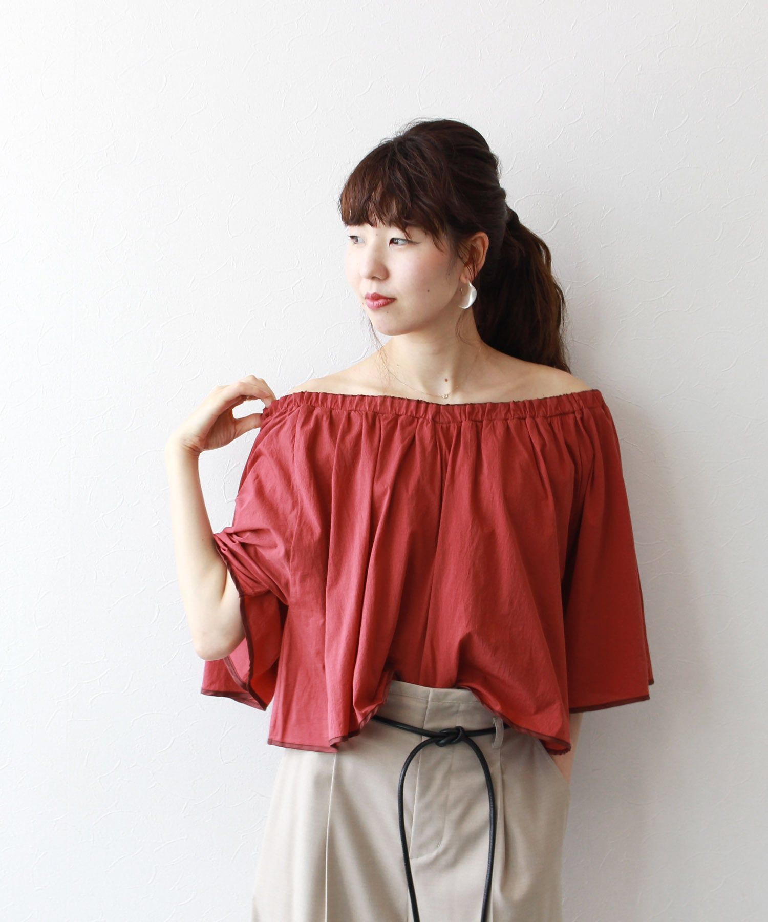 air jersey gather blouse