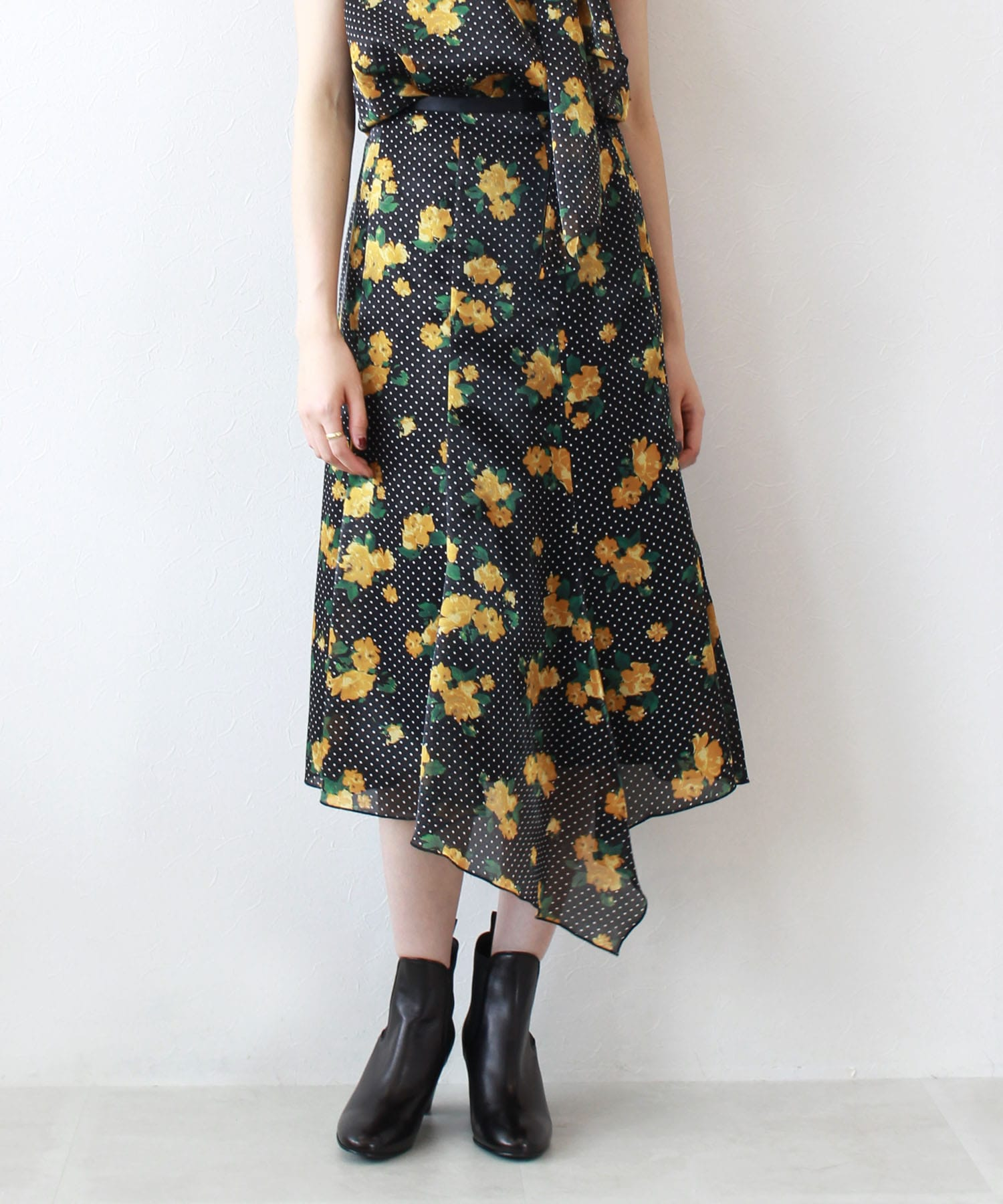 twinkle flower dot flare skirt