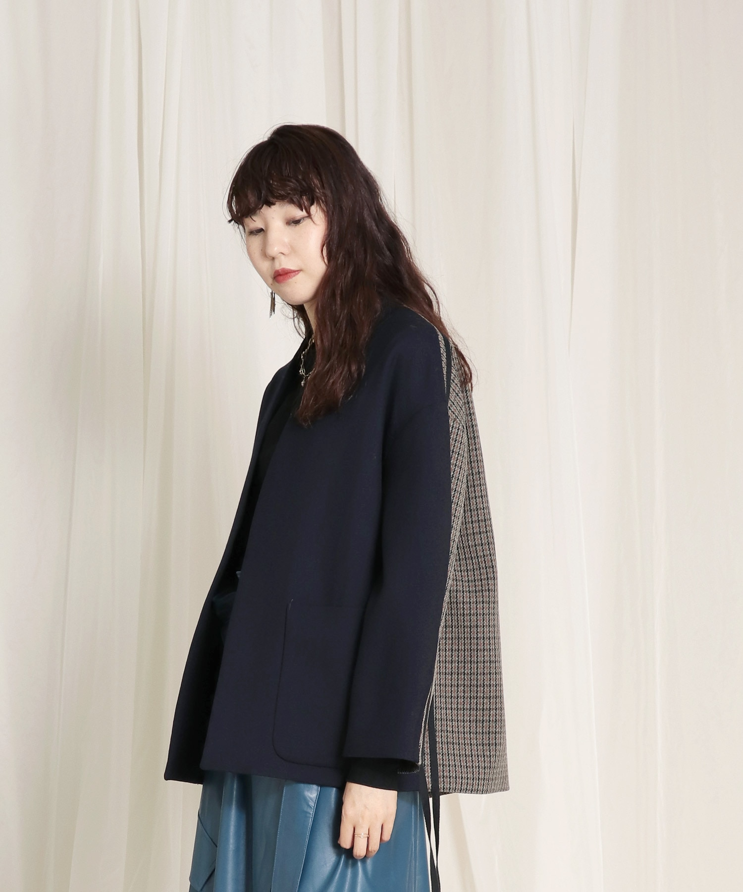 wool×classic check jacket