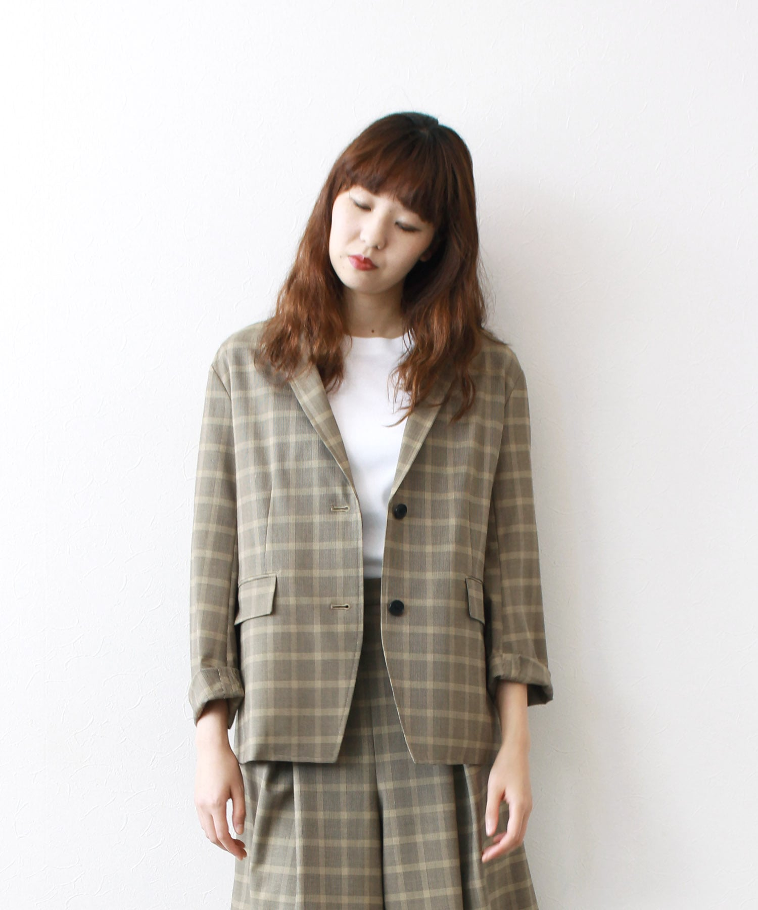 plaid check tailored jacket