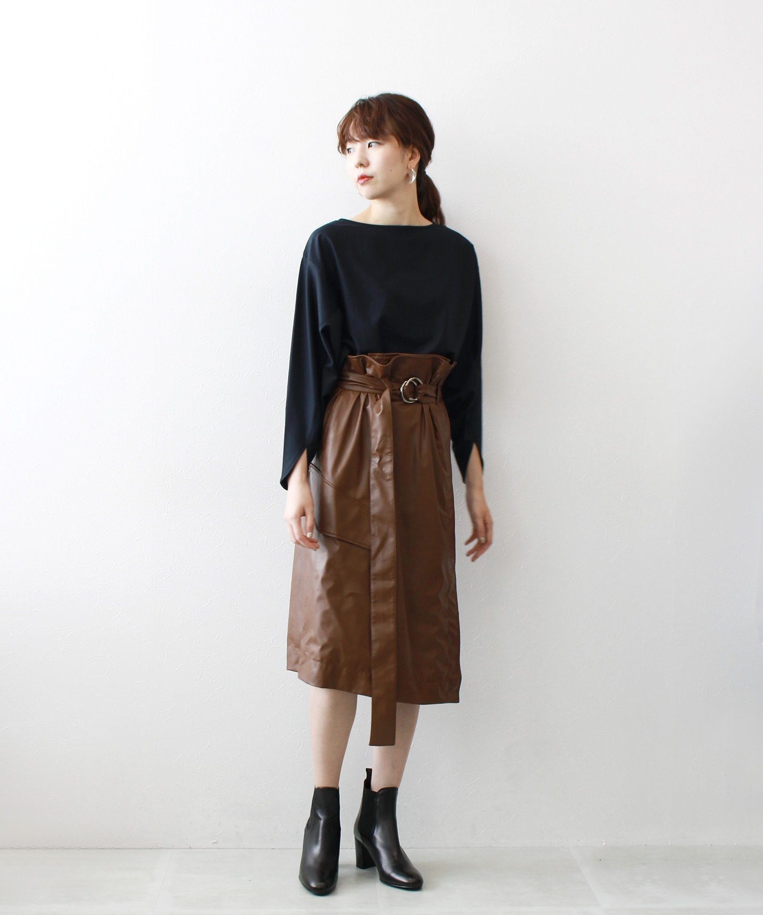 light eco leather skirt
