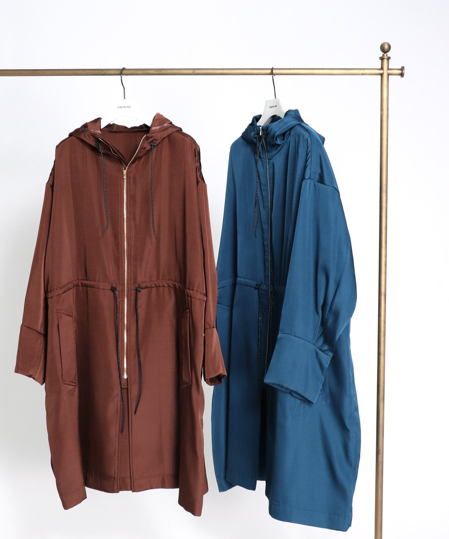 double satin light hooded coat