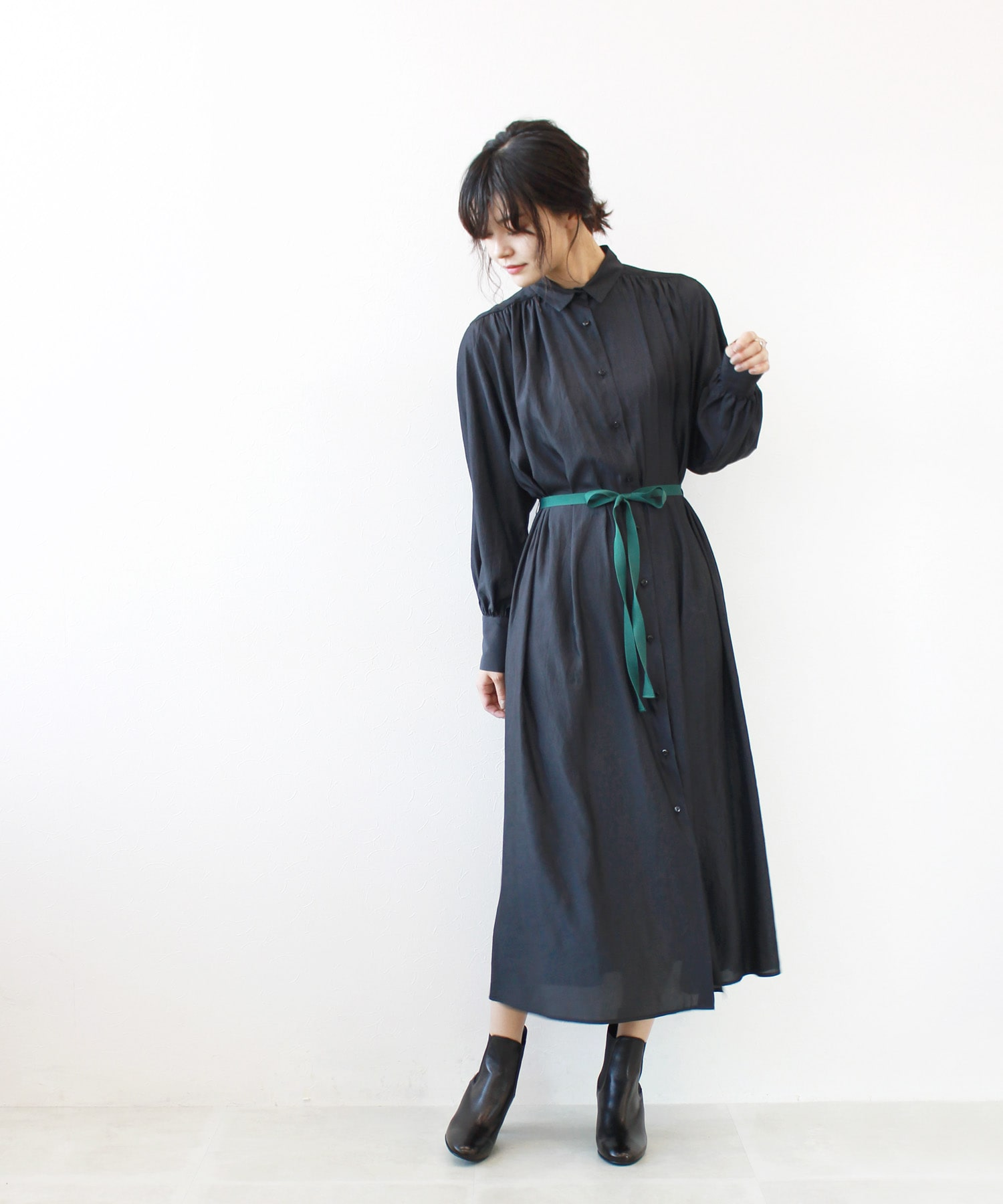 silk like layard shirt dress