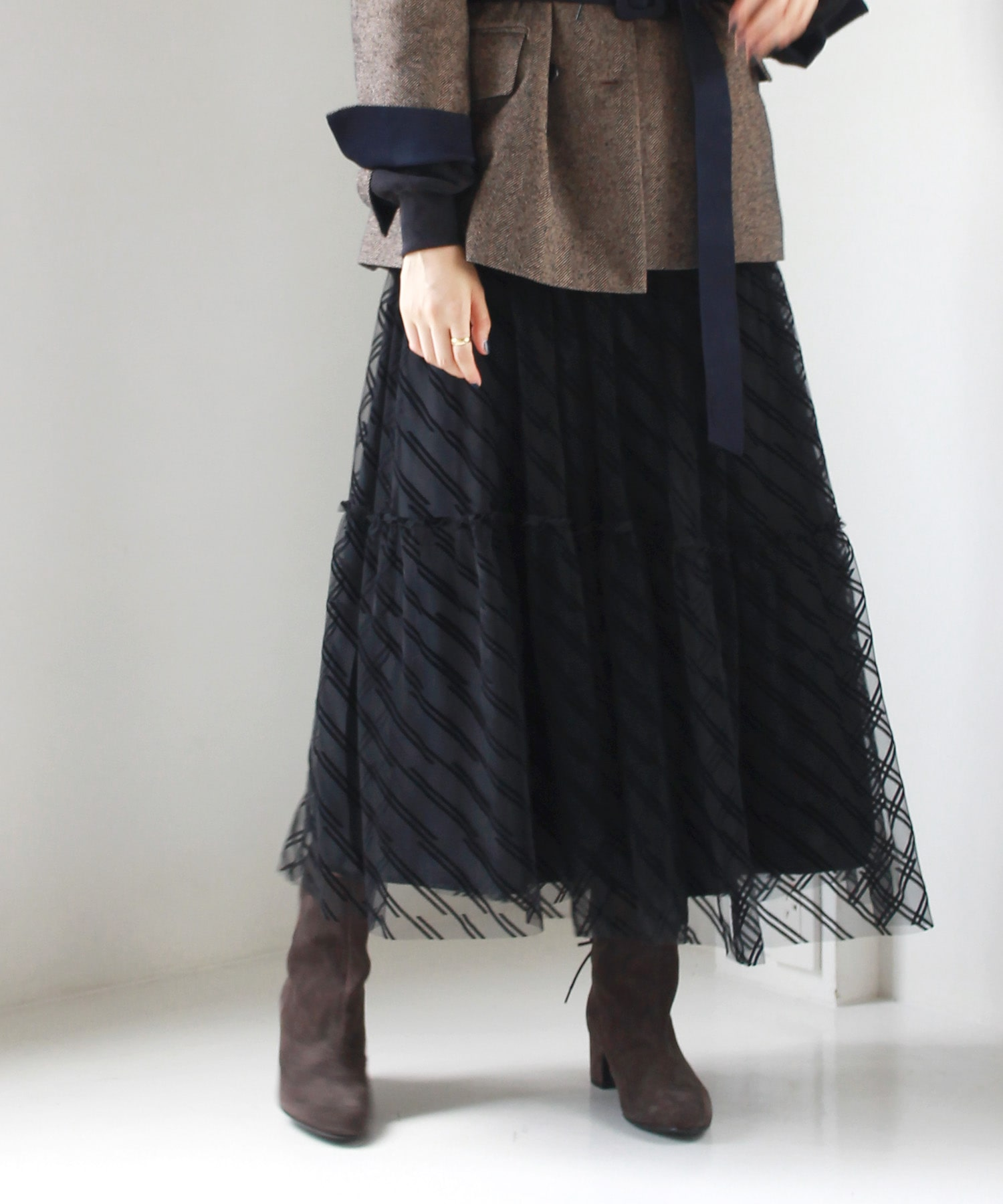 tulle gather long skirt