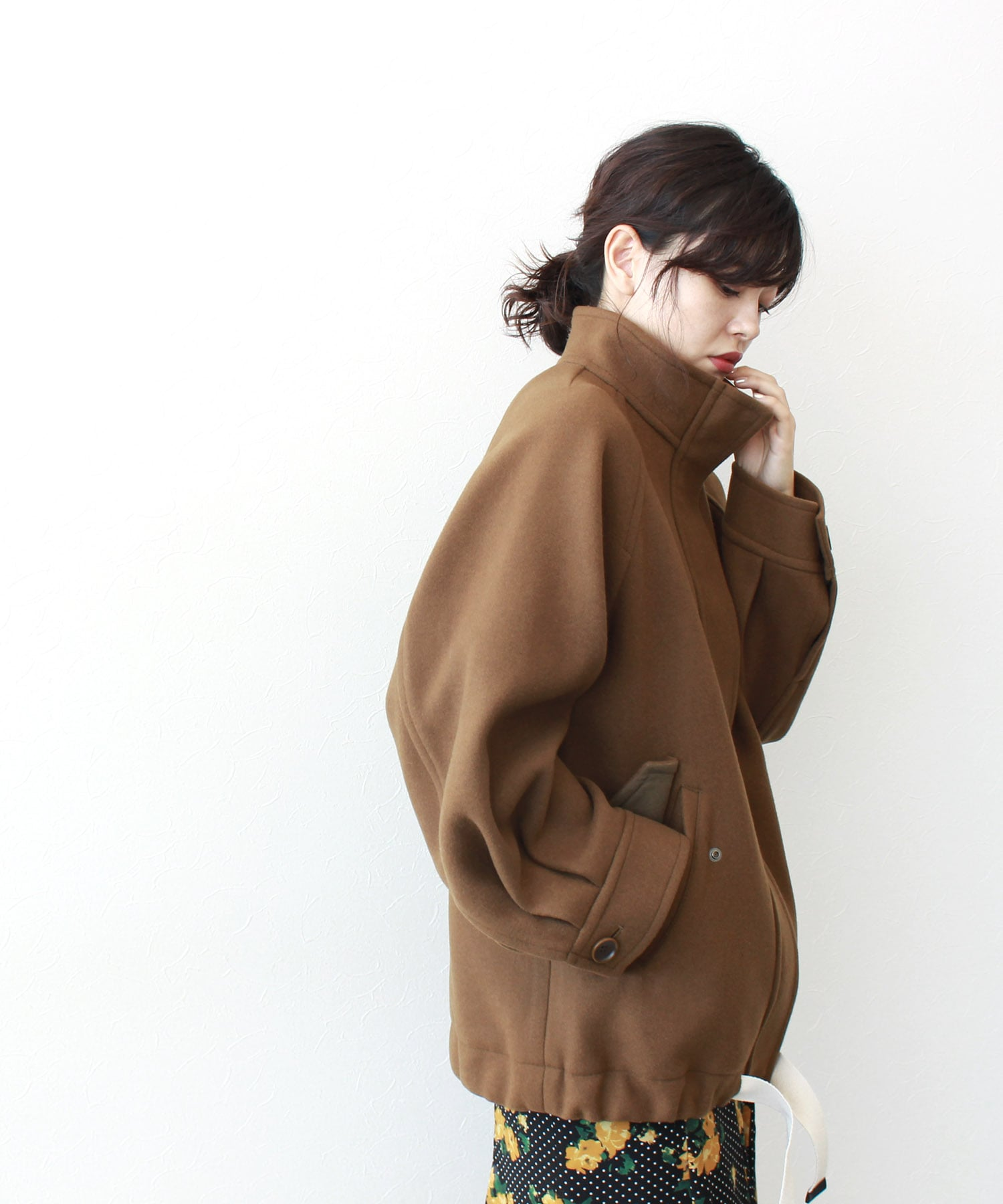 wool stand collar over coat
