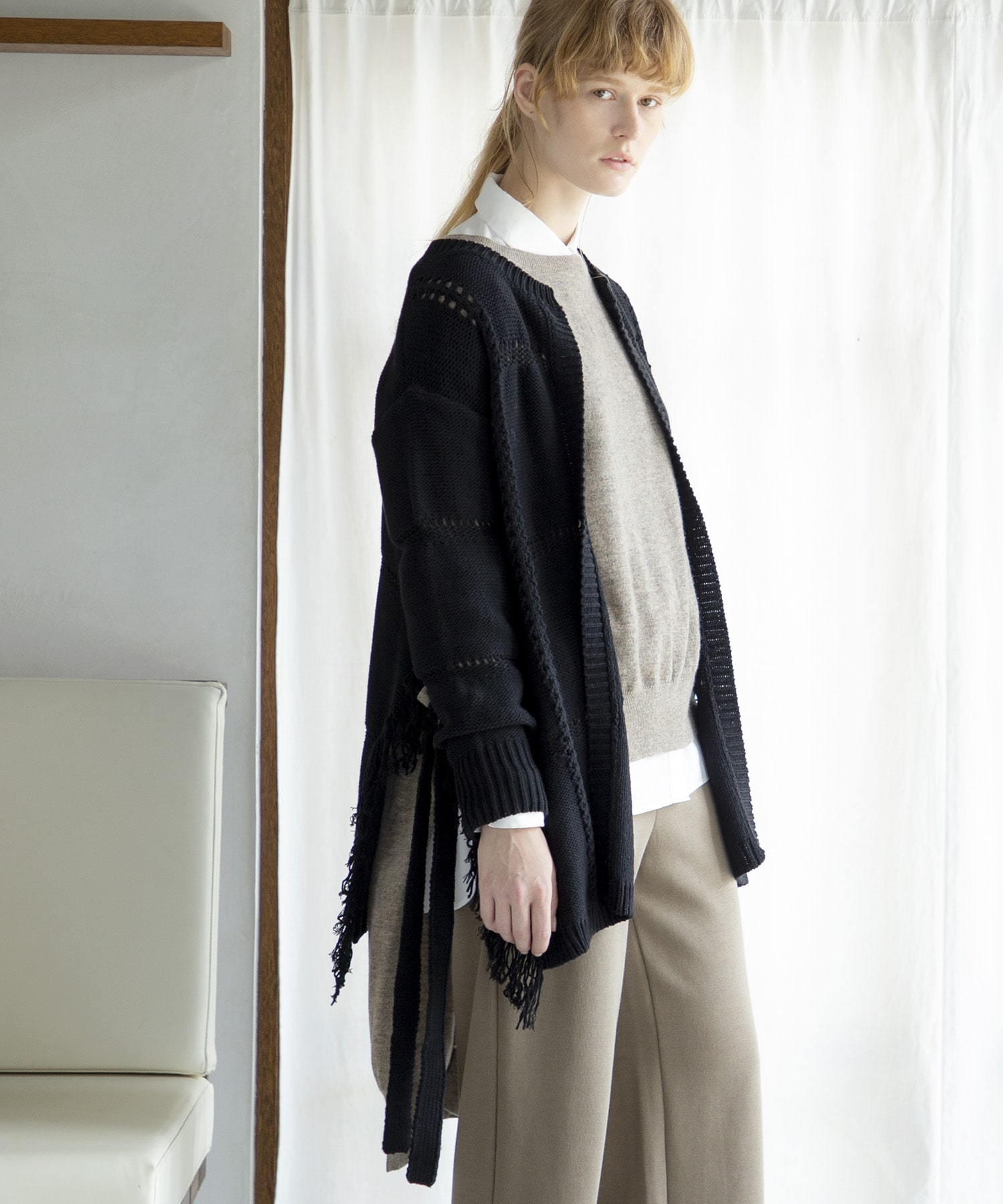 balloon cotton fringe cardigan