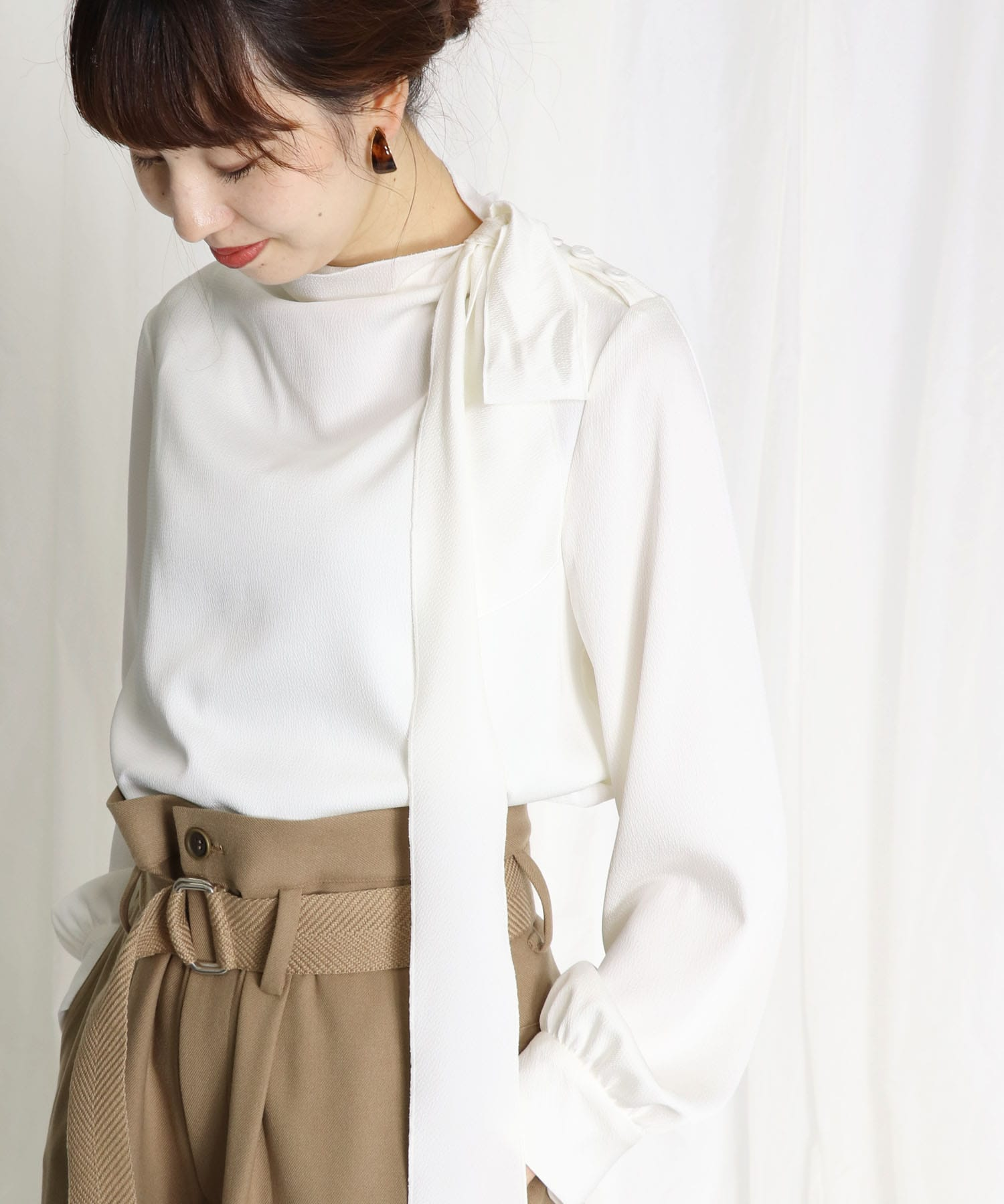 wrinkle bow tie blouse