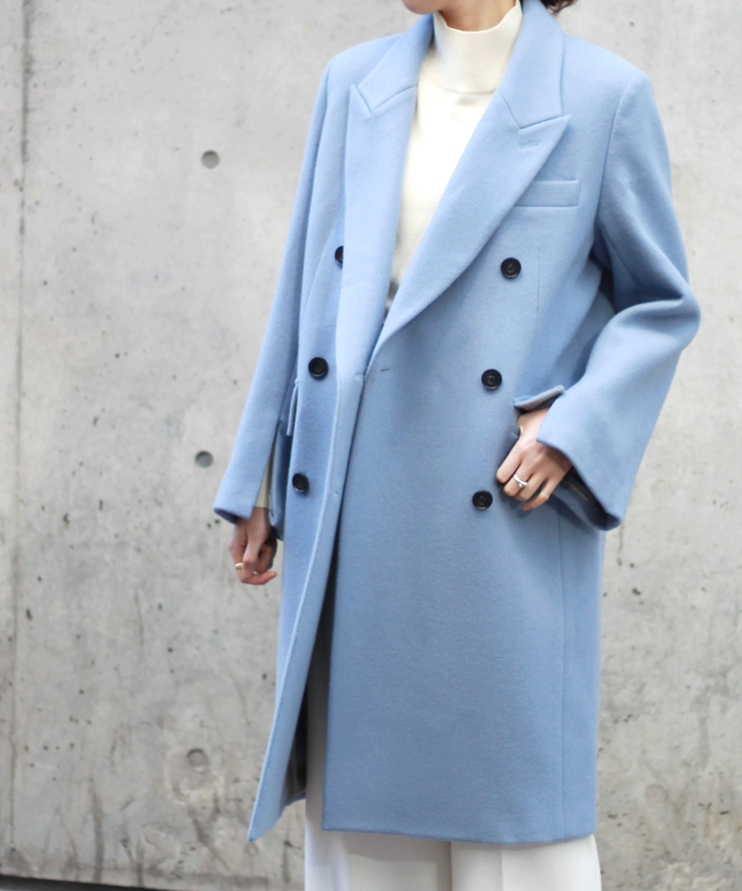 wool melton double chester coat