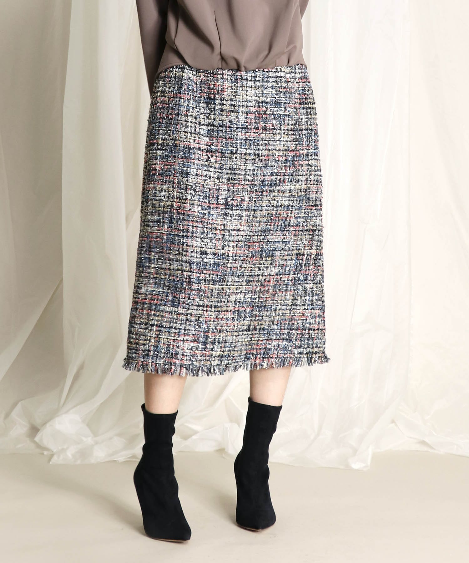 spangled tweed trapezoid skirt
