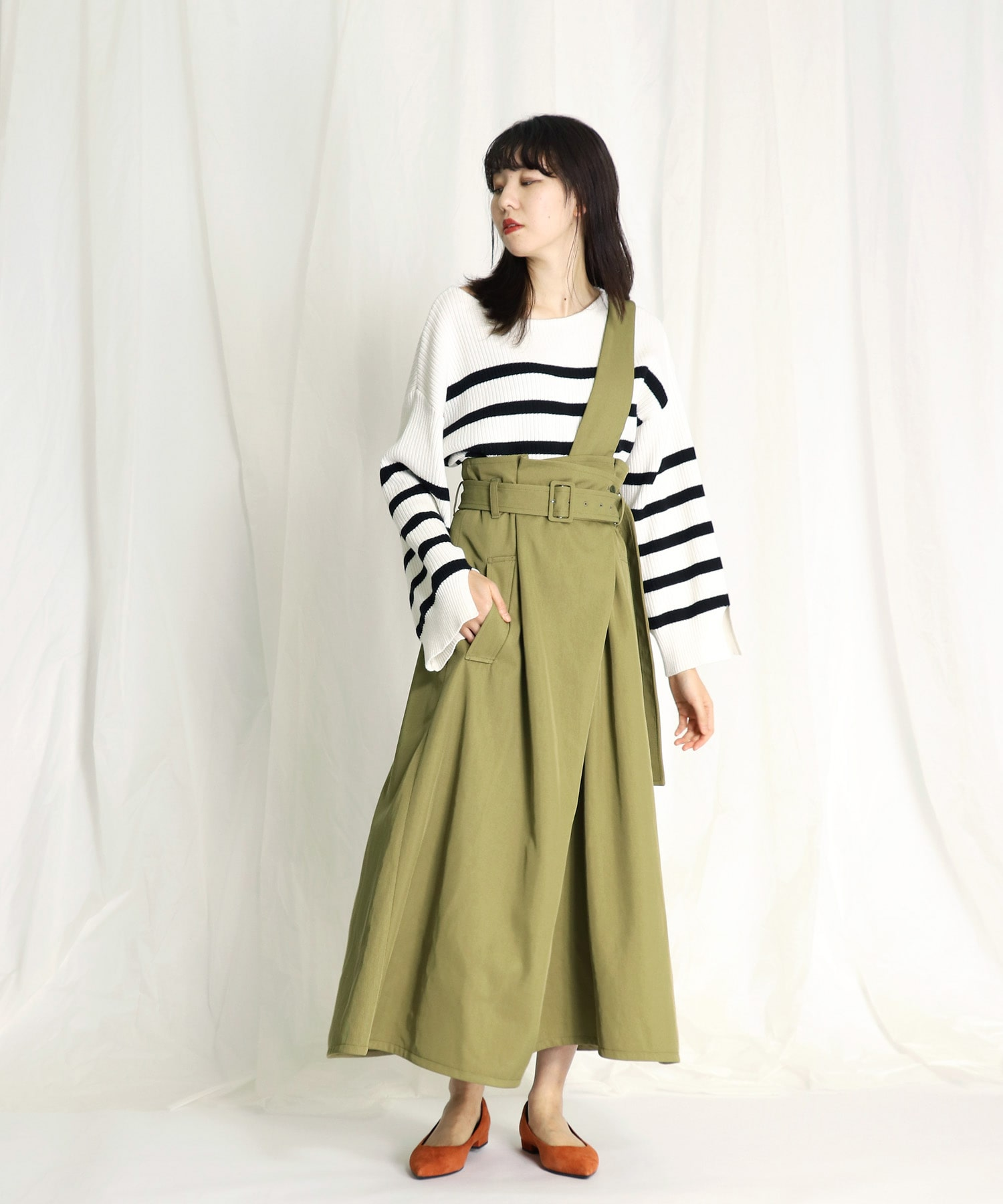 one side suspender long skirt