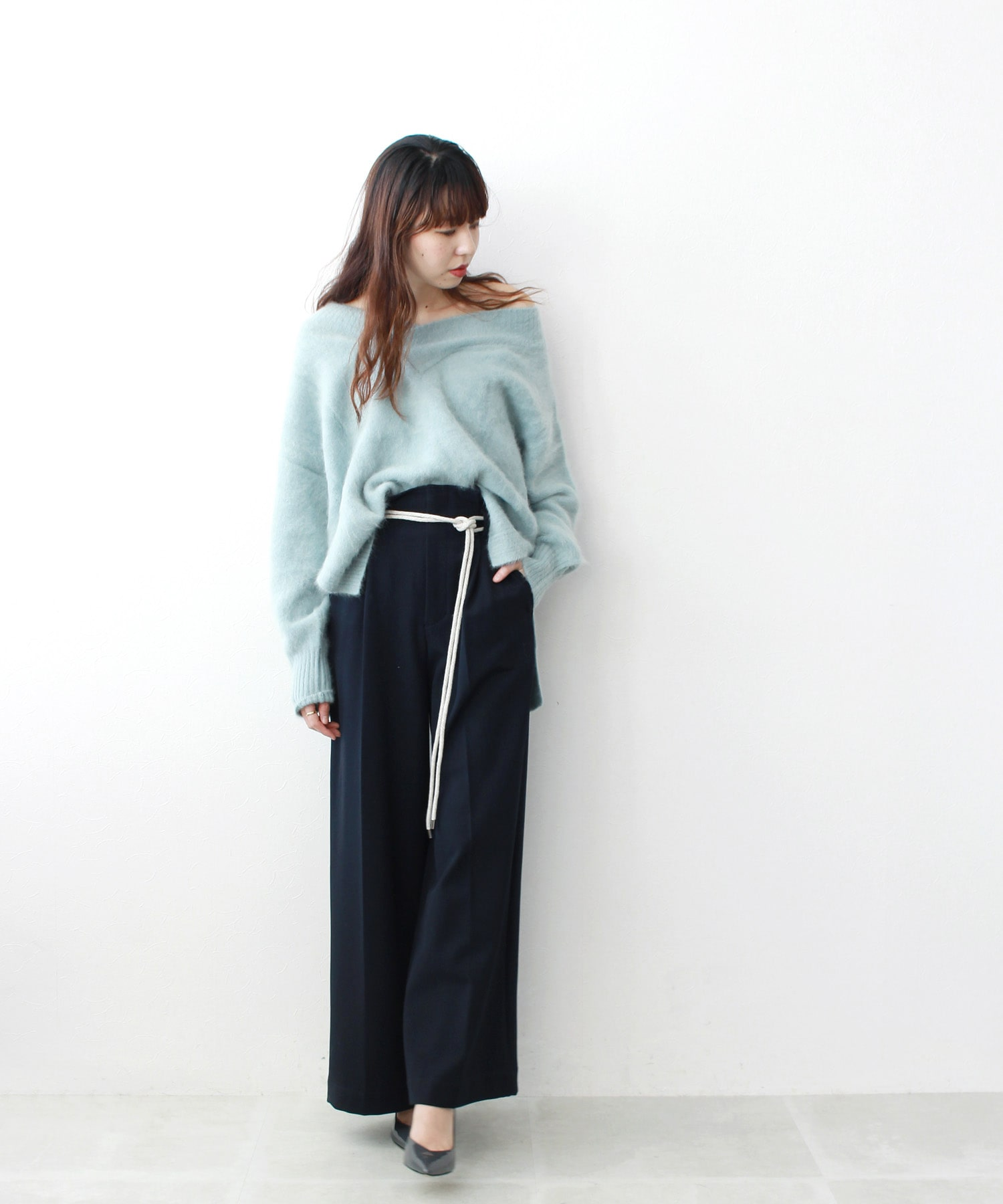 TR brashed back wide pants