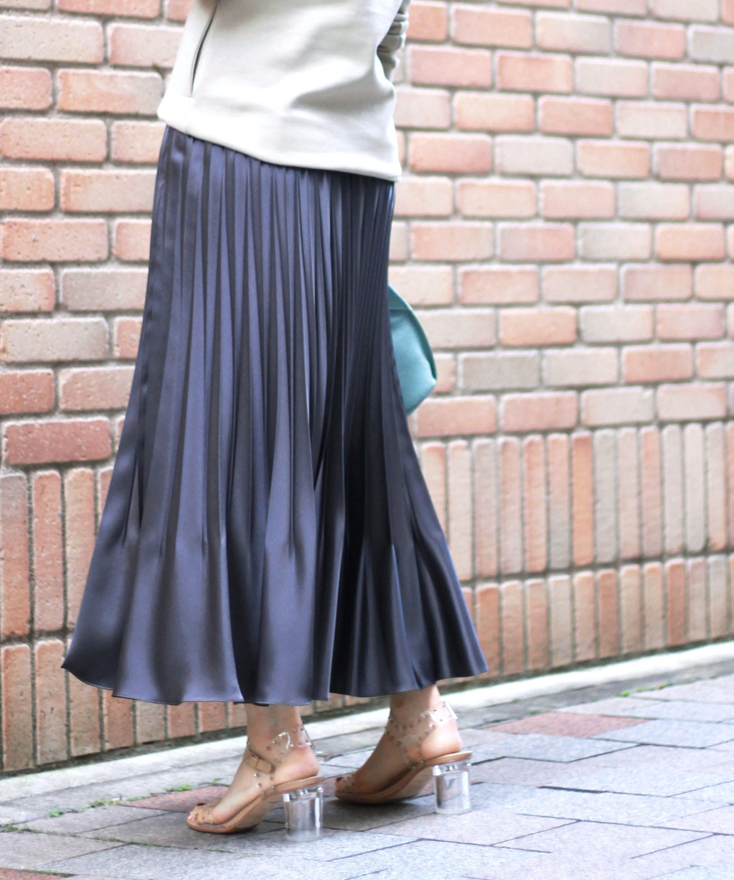luster satin pleats skirt