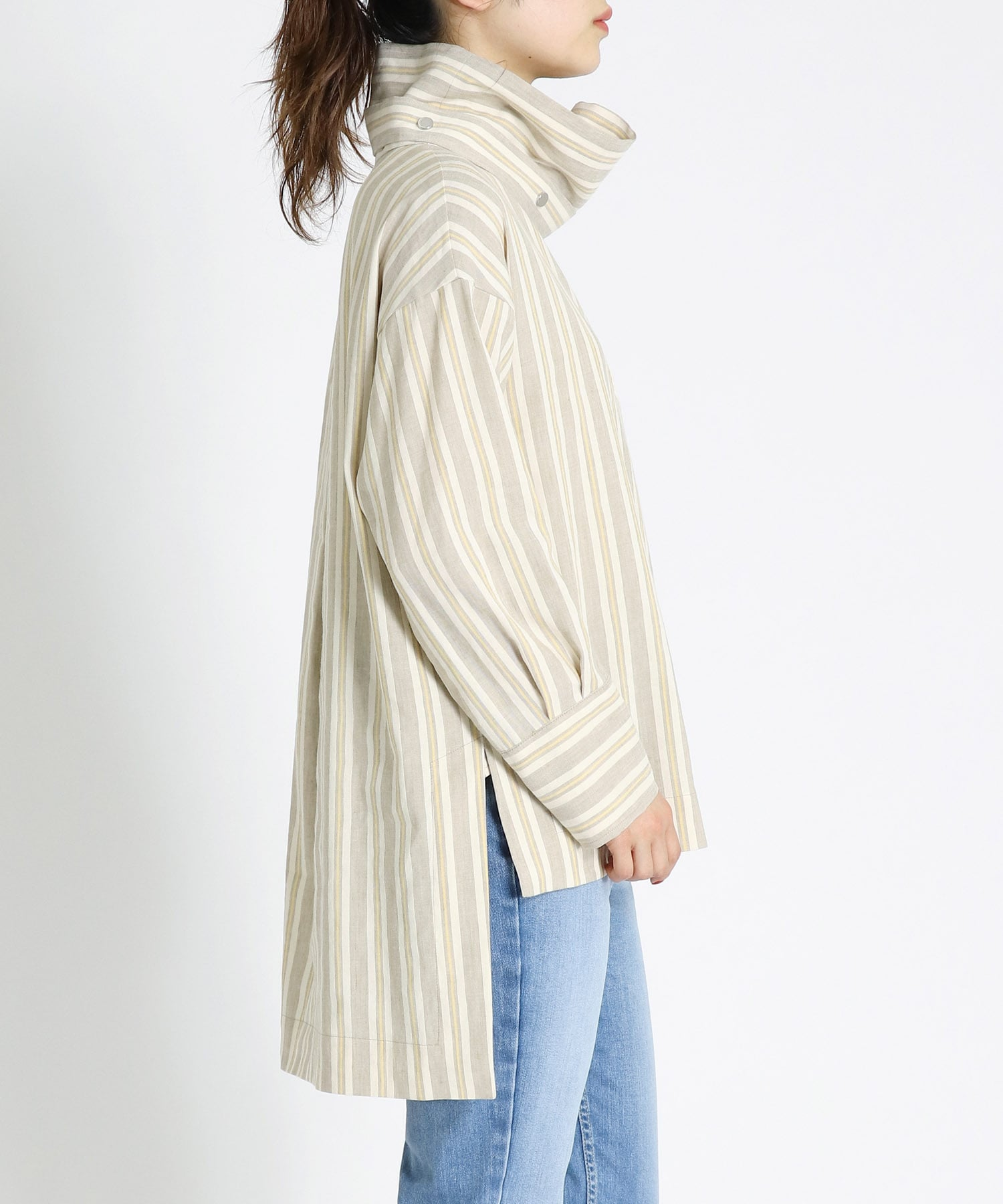 fade stripe stand blouse