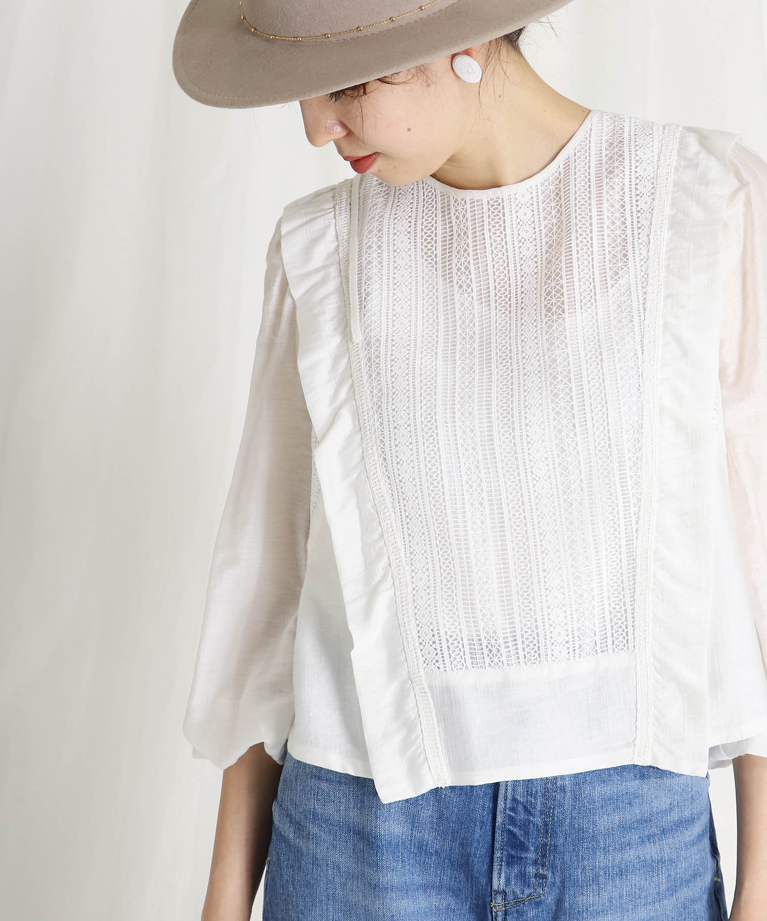 stripe lace×rayon silk blouse