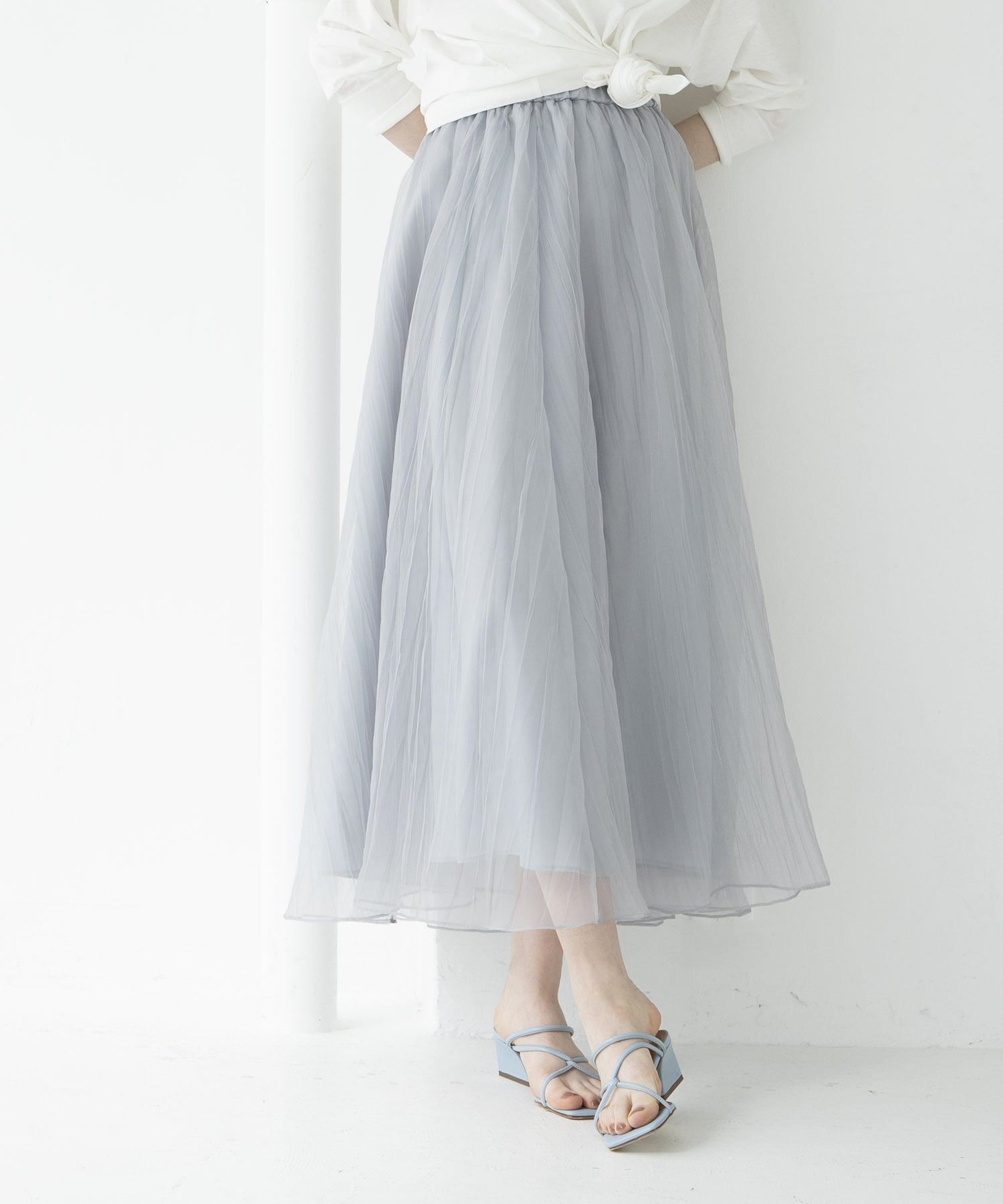 washer organdy long skirt