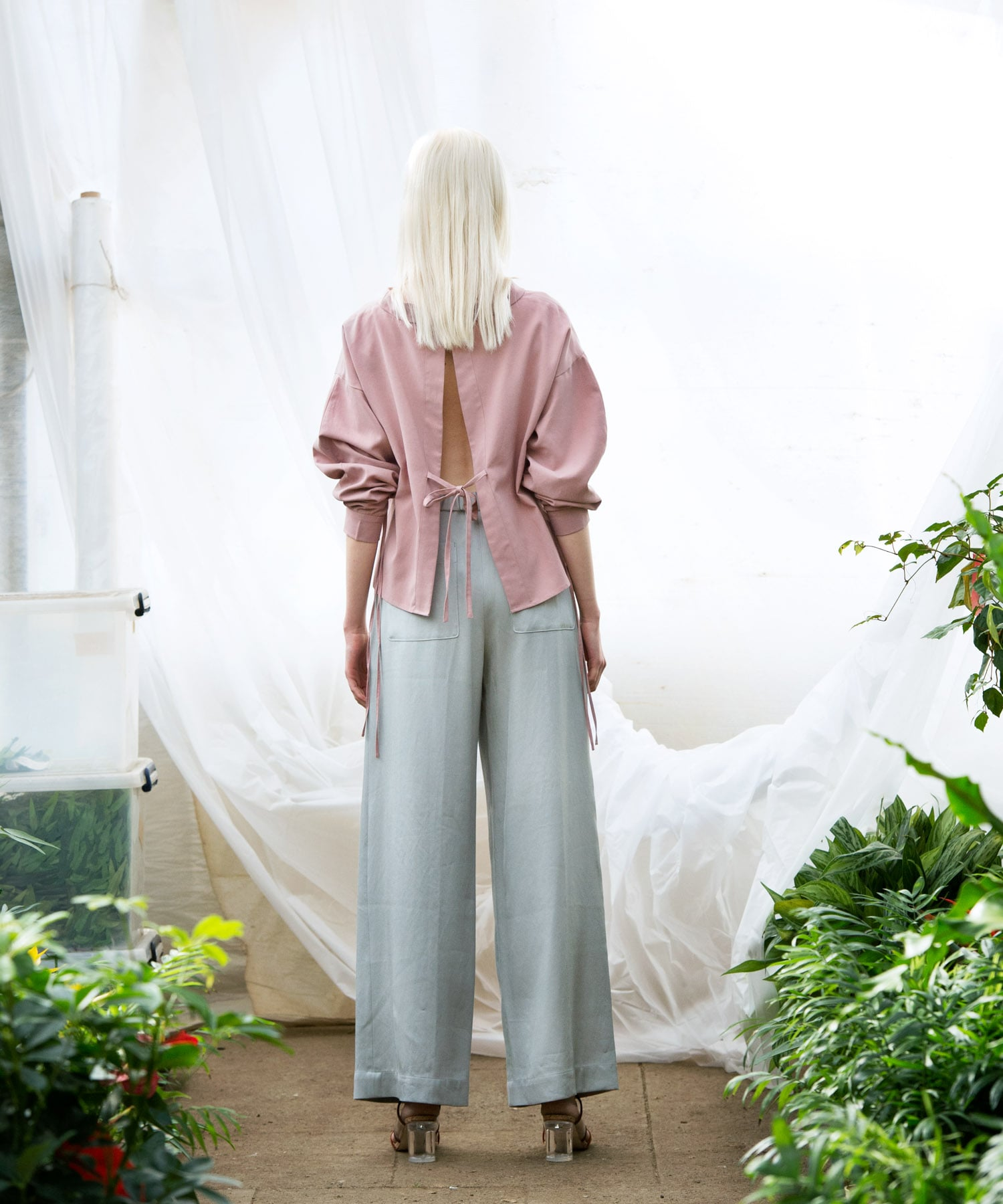 vintage rayon relax straight pants