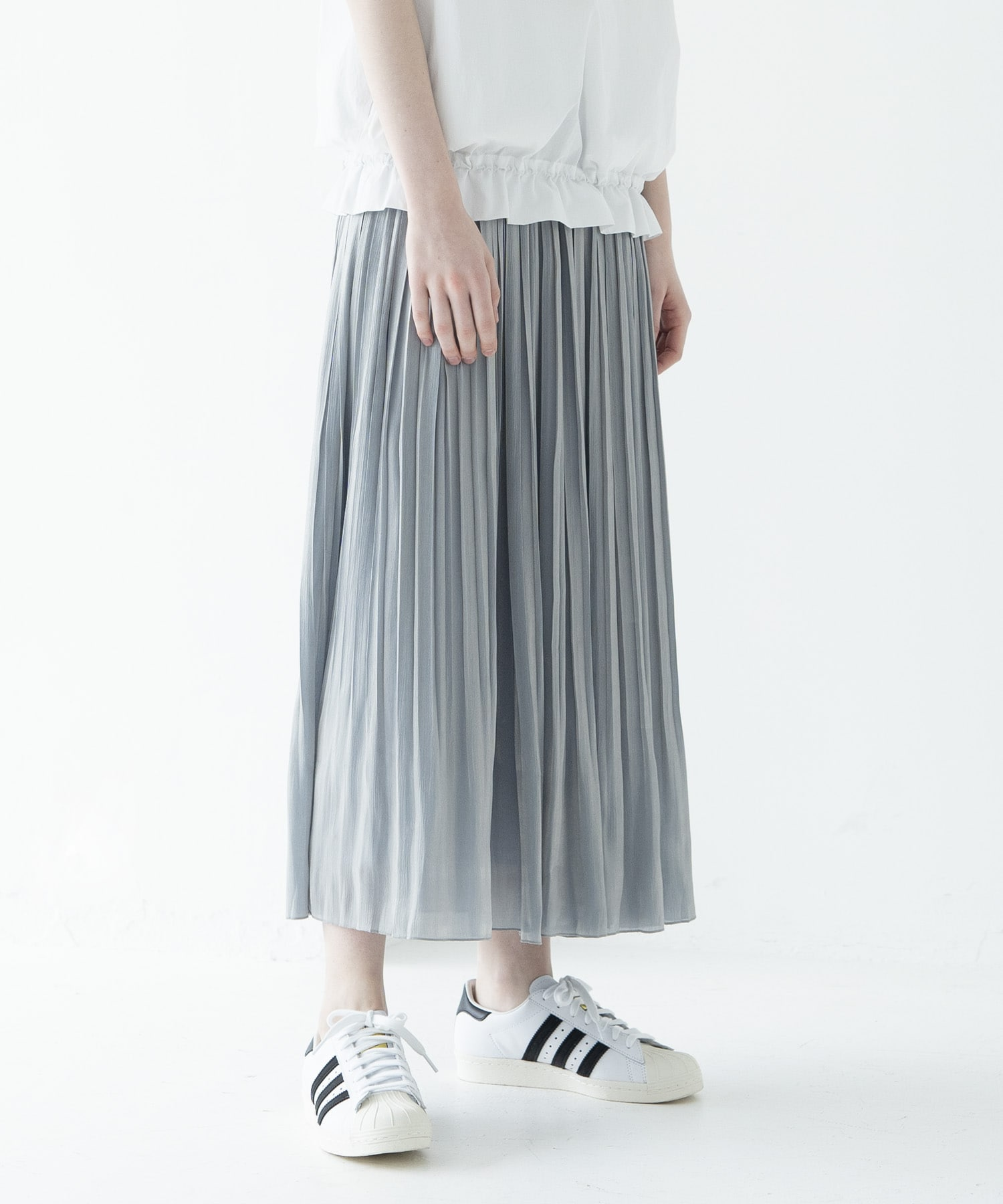 chambray shine pleats skirt