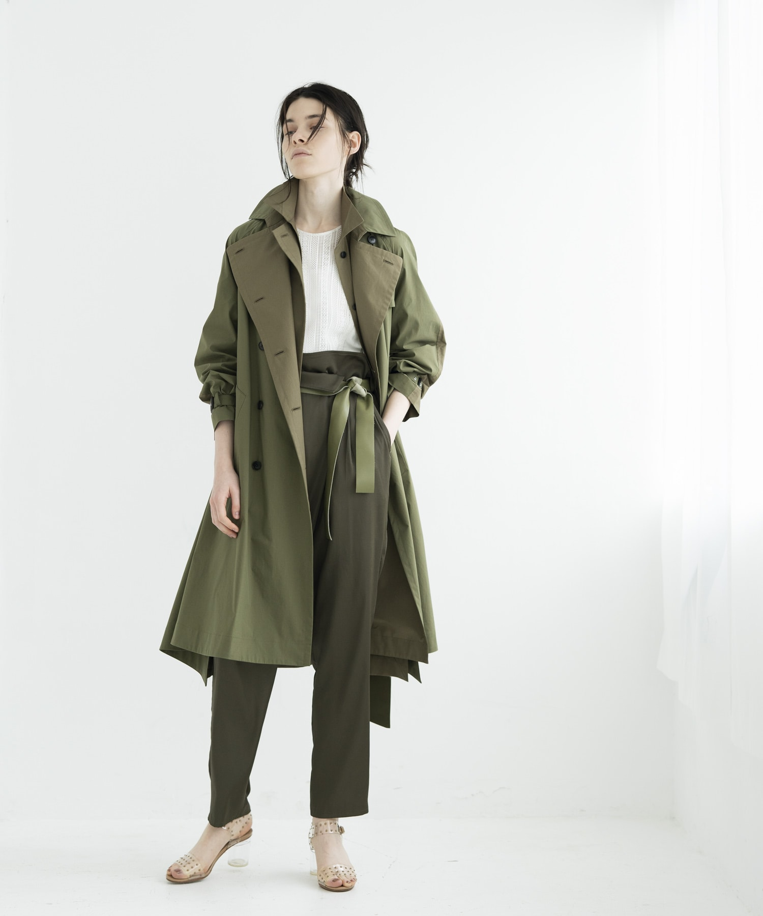 color block trench coat