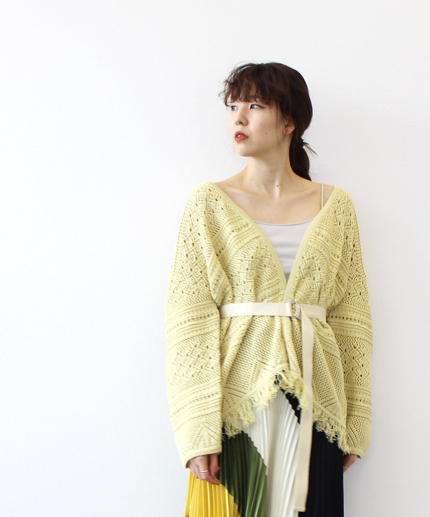 cotton tapeyarn fringe cardigan
