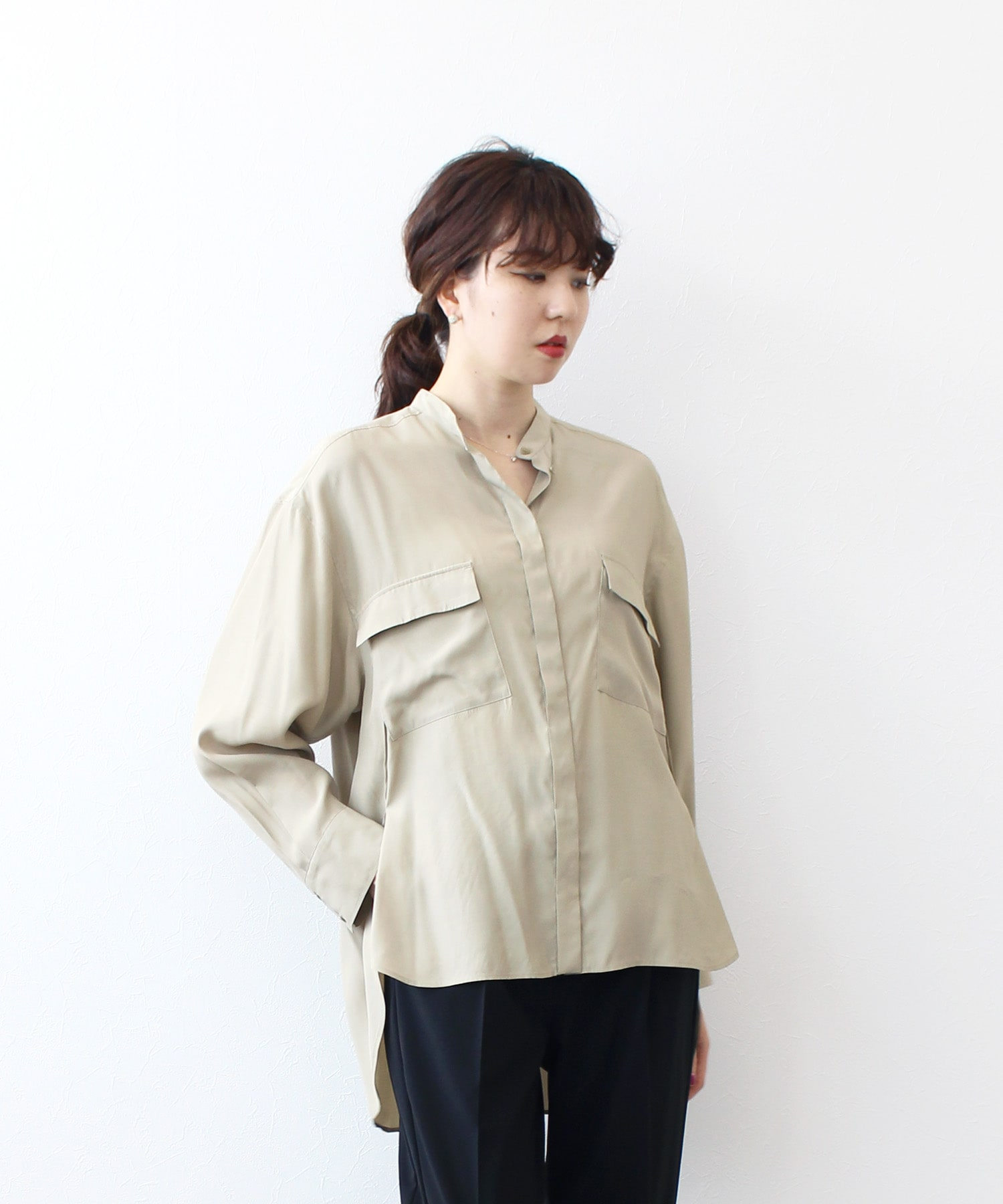 fibril band collar shirt