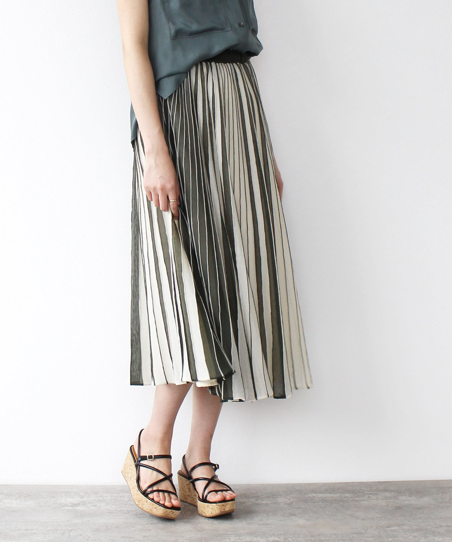 COVER sheer flare skirt