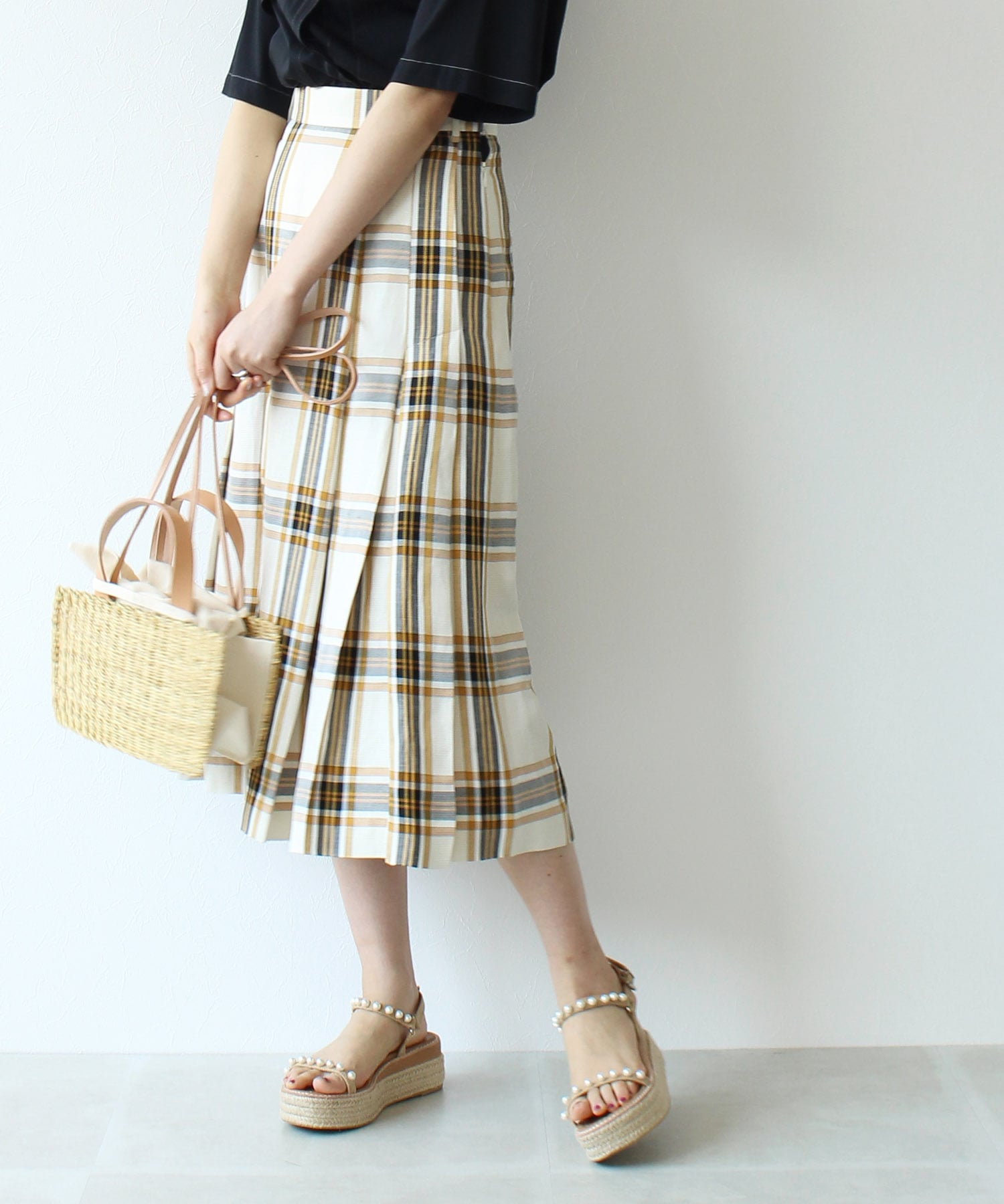 acetate linen check tack skirt