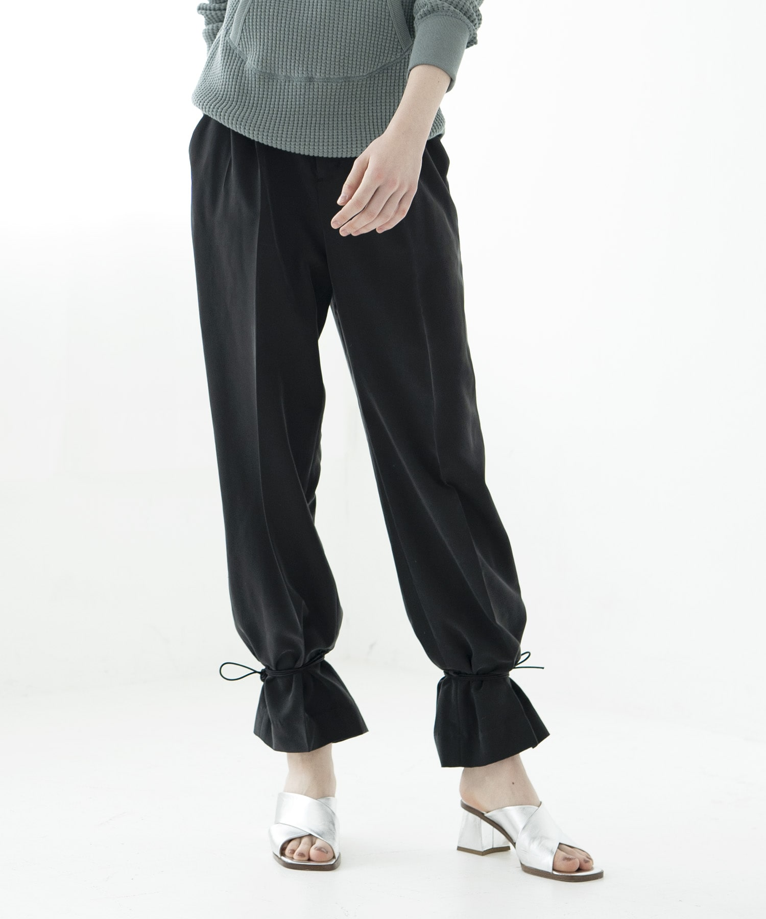poplin ancle string pants
