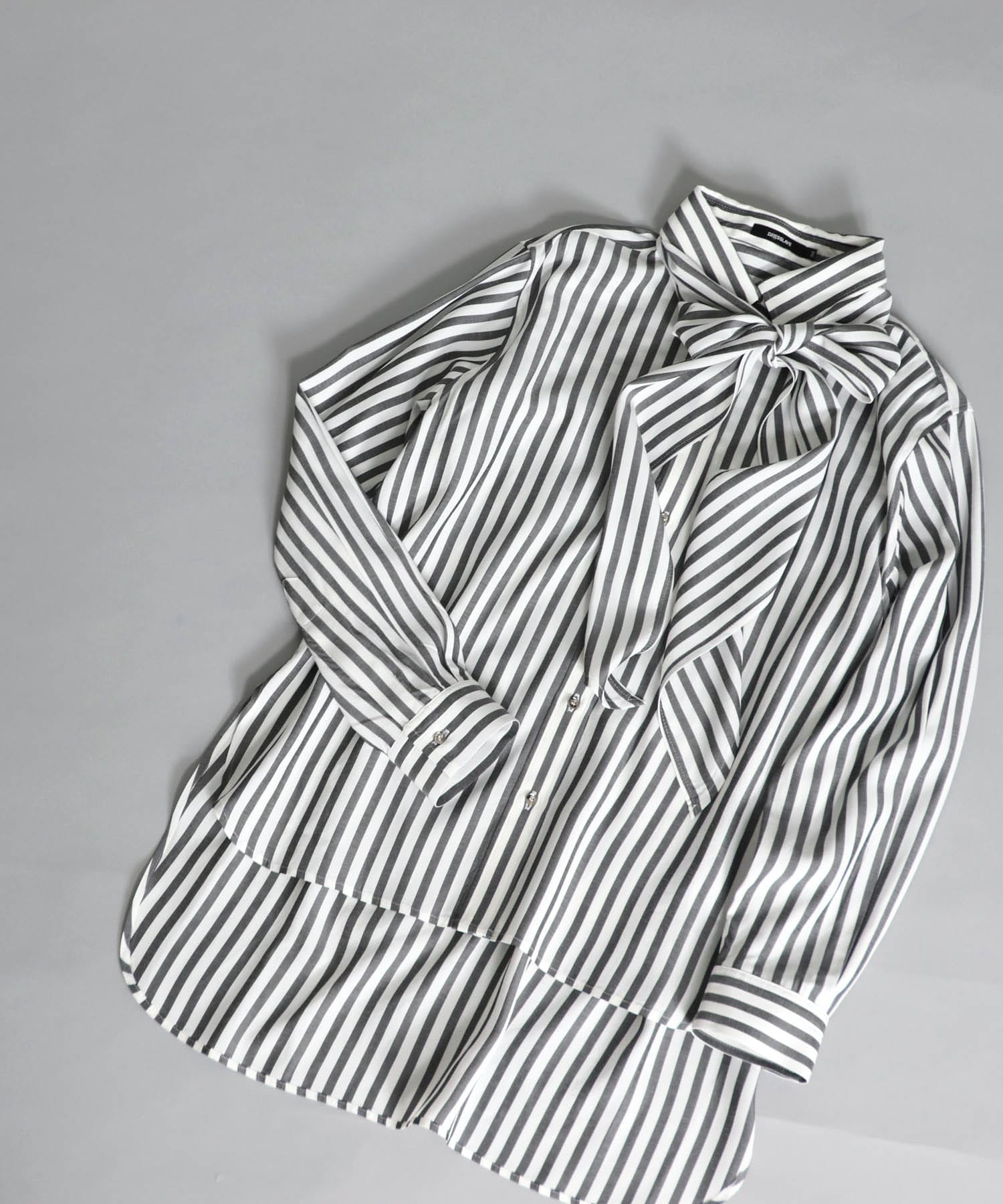 acetate stripe bow tie shirt