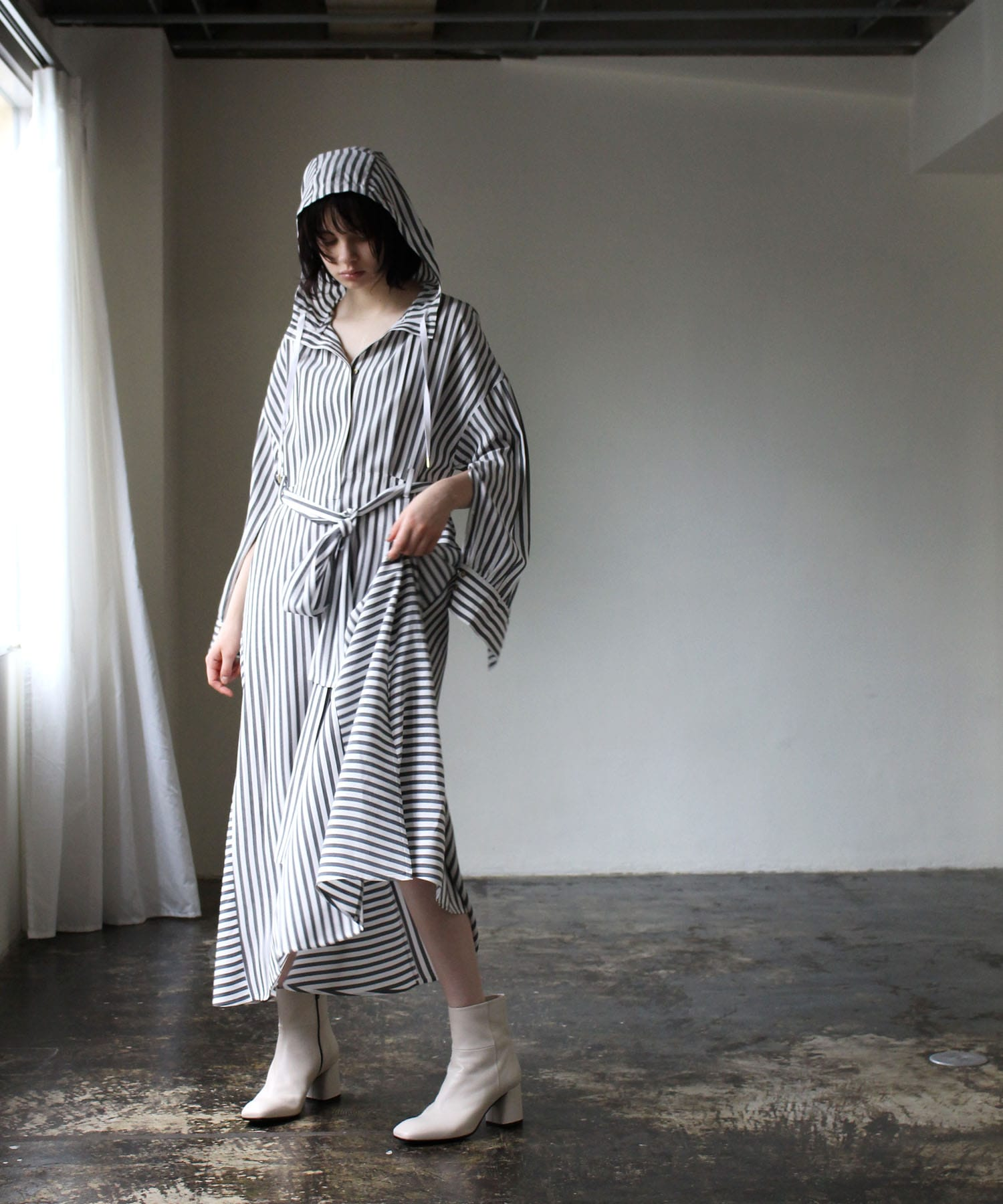 acetate stripe hooded dress