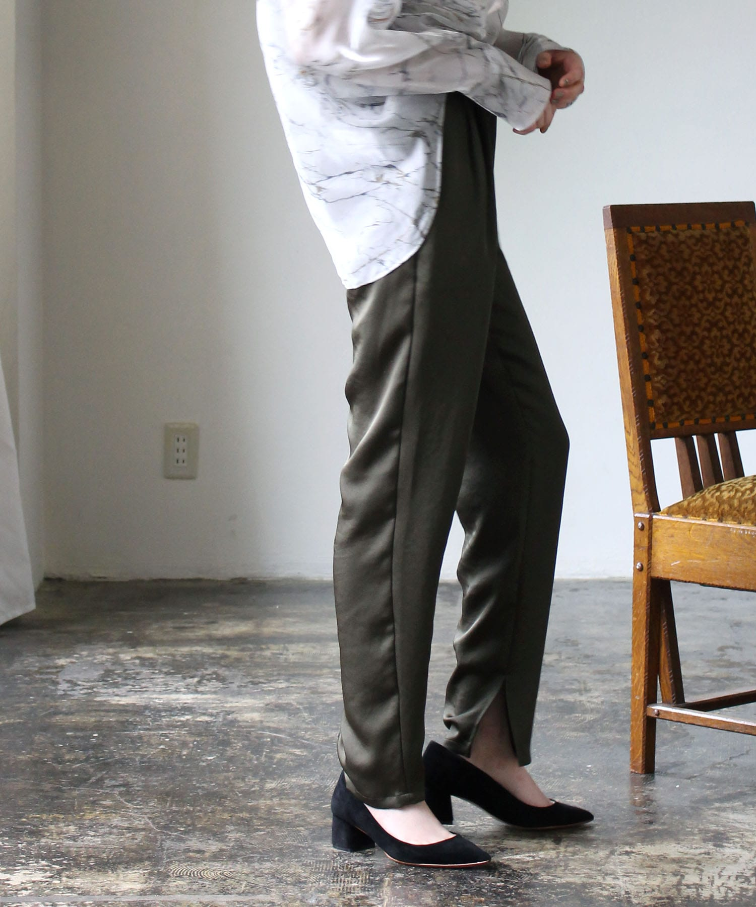 satin tapared slit pants