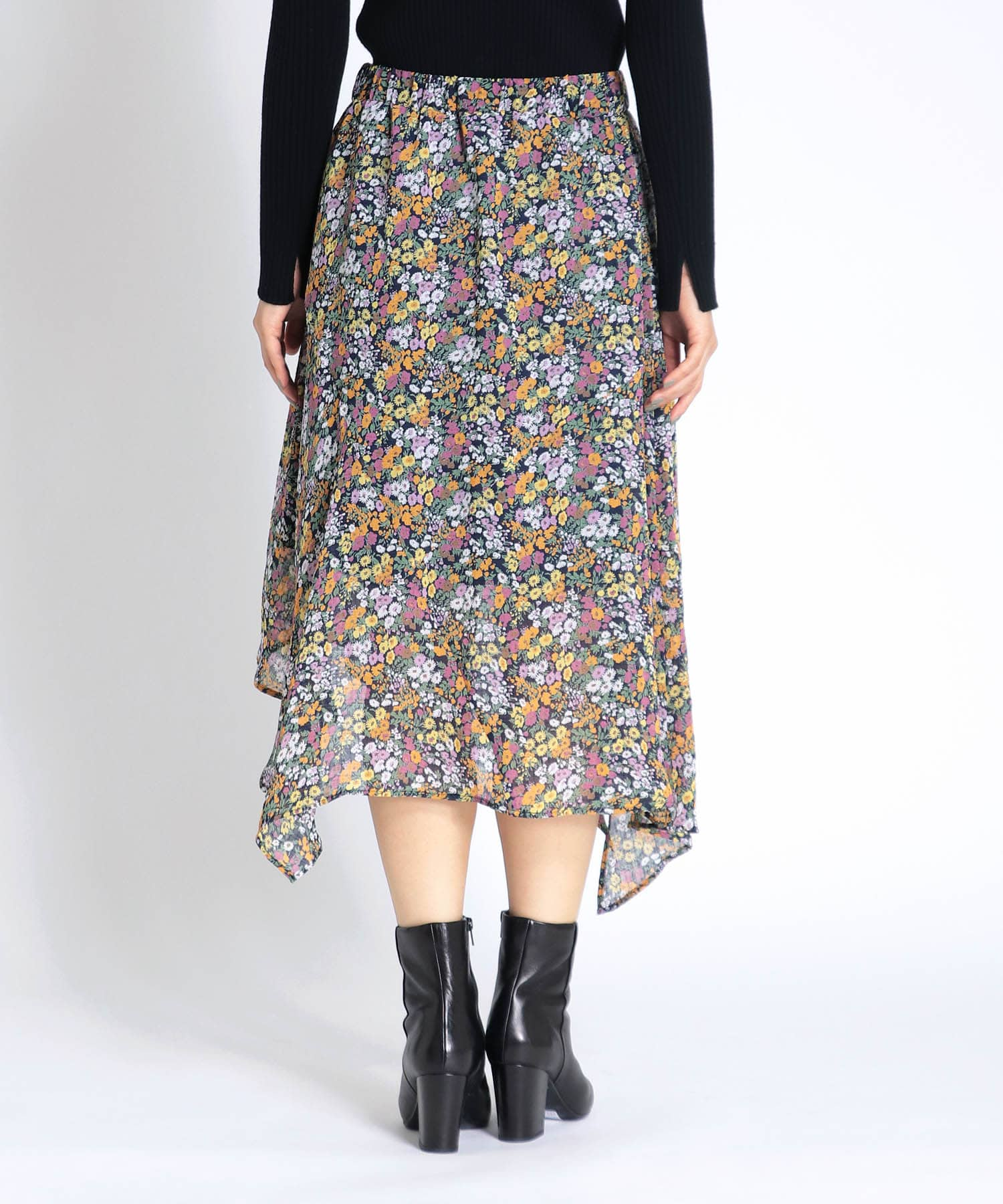 retro flower print asymmetric skirt