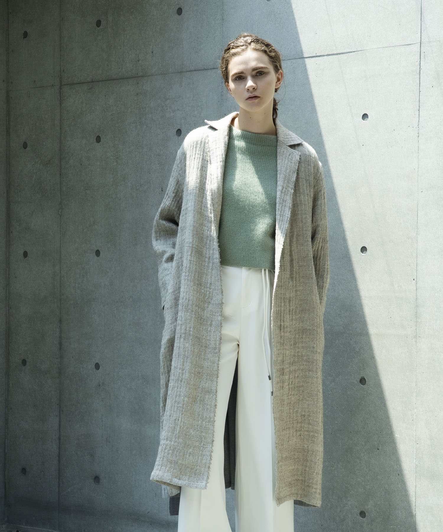 Hemp wool gown coat