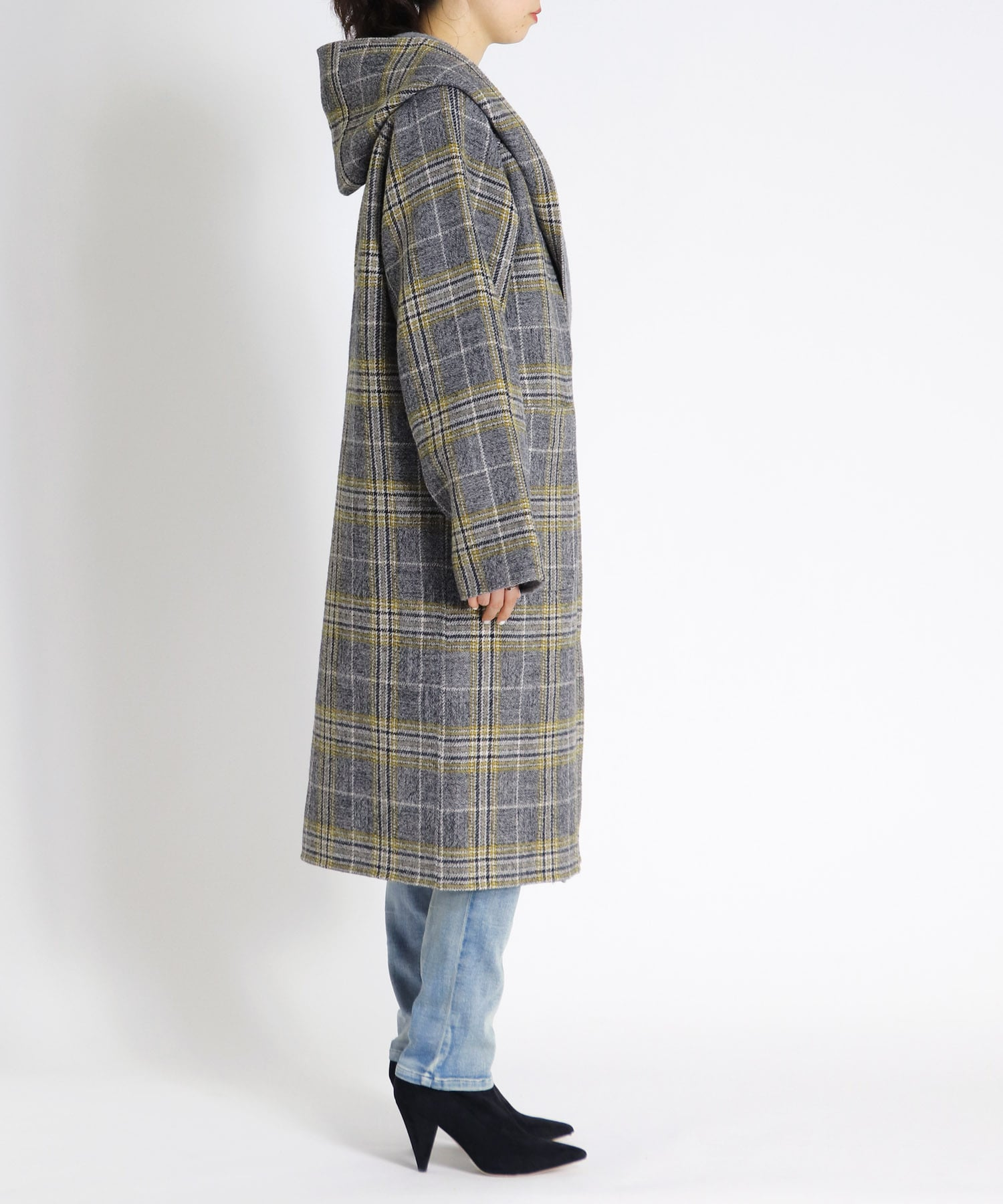 check rever hooded coat