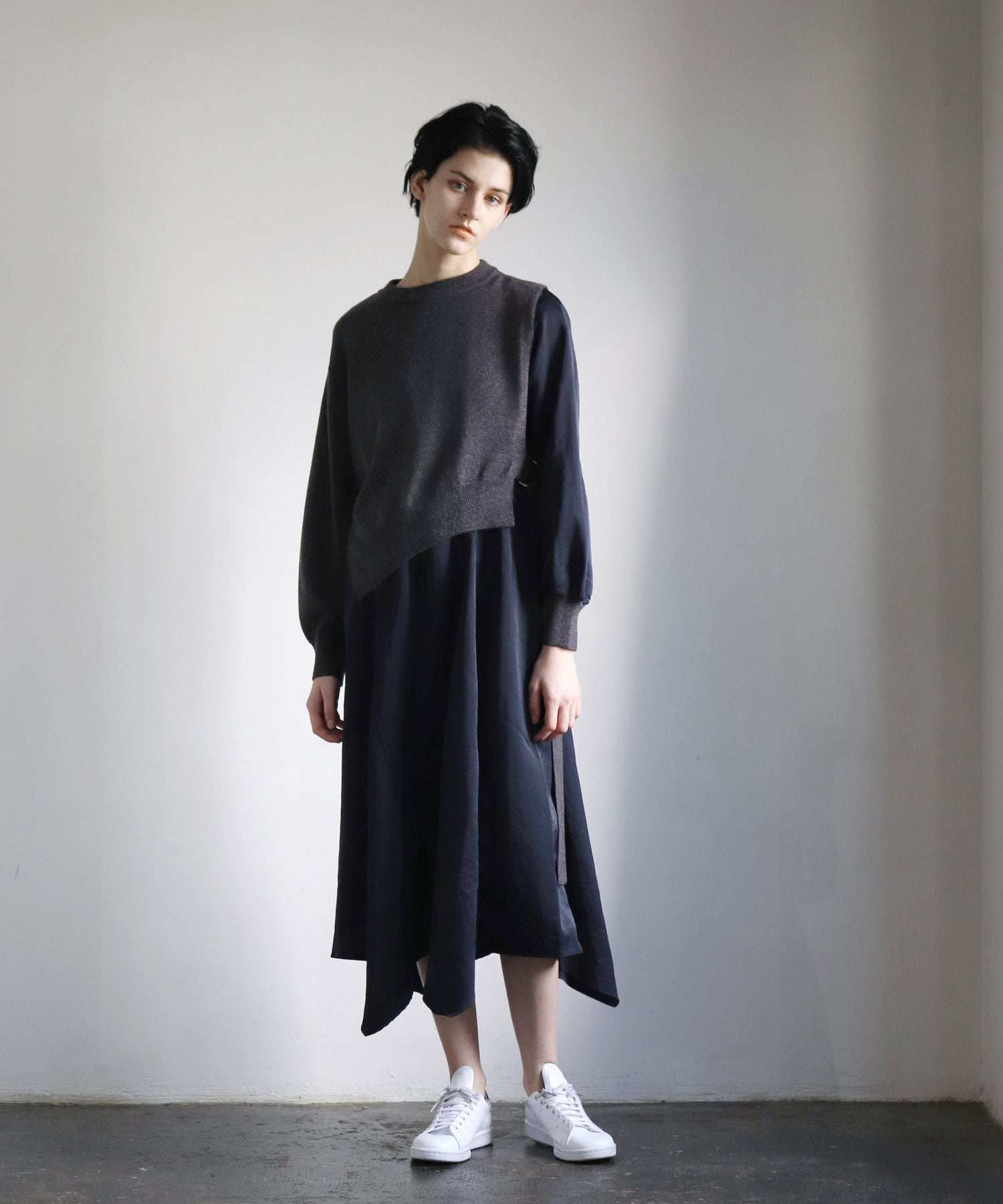 knit×fabric combination dress