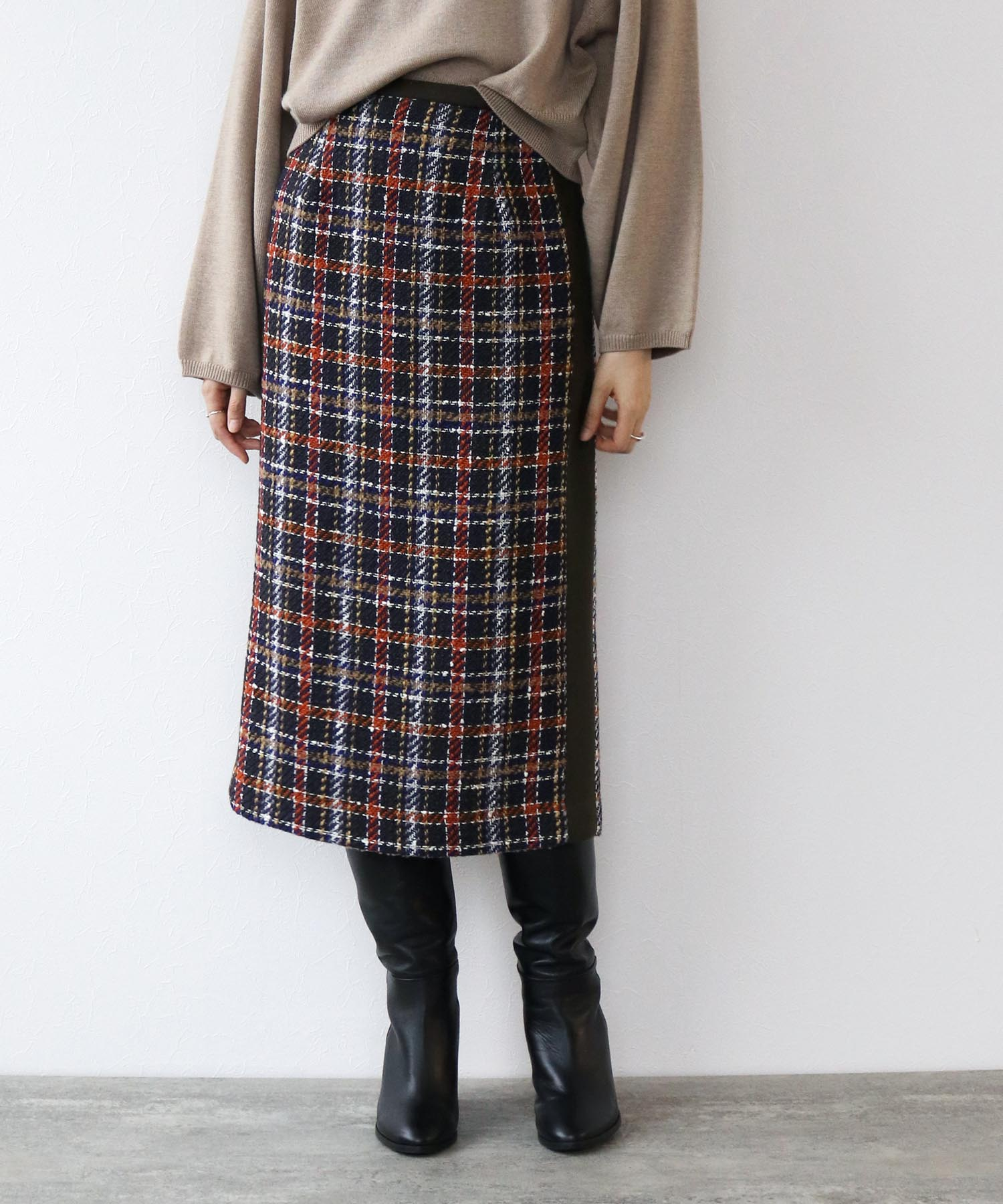 wool roving check tight skirt