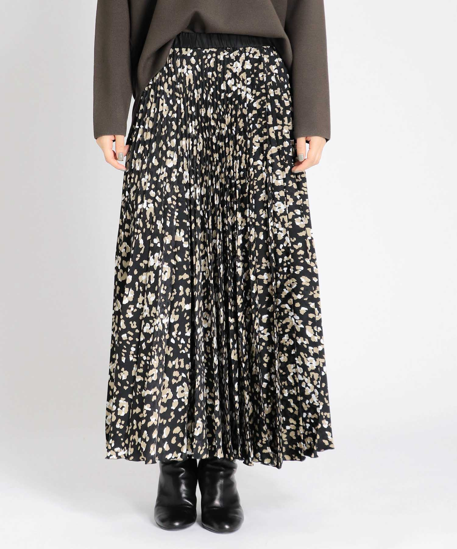 reopard print pleats skirt