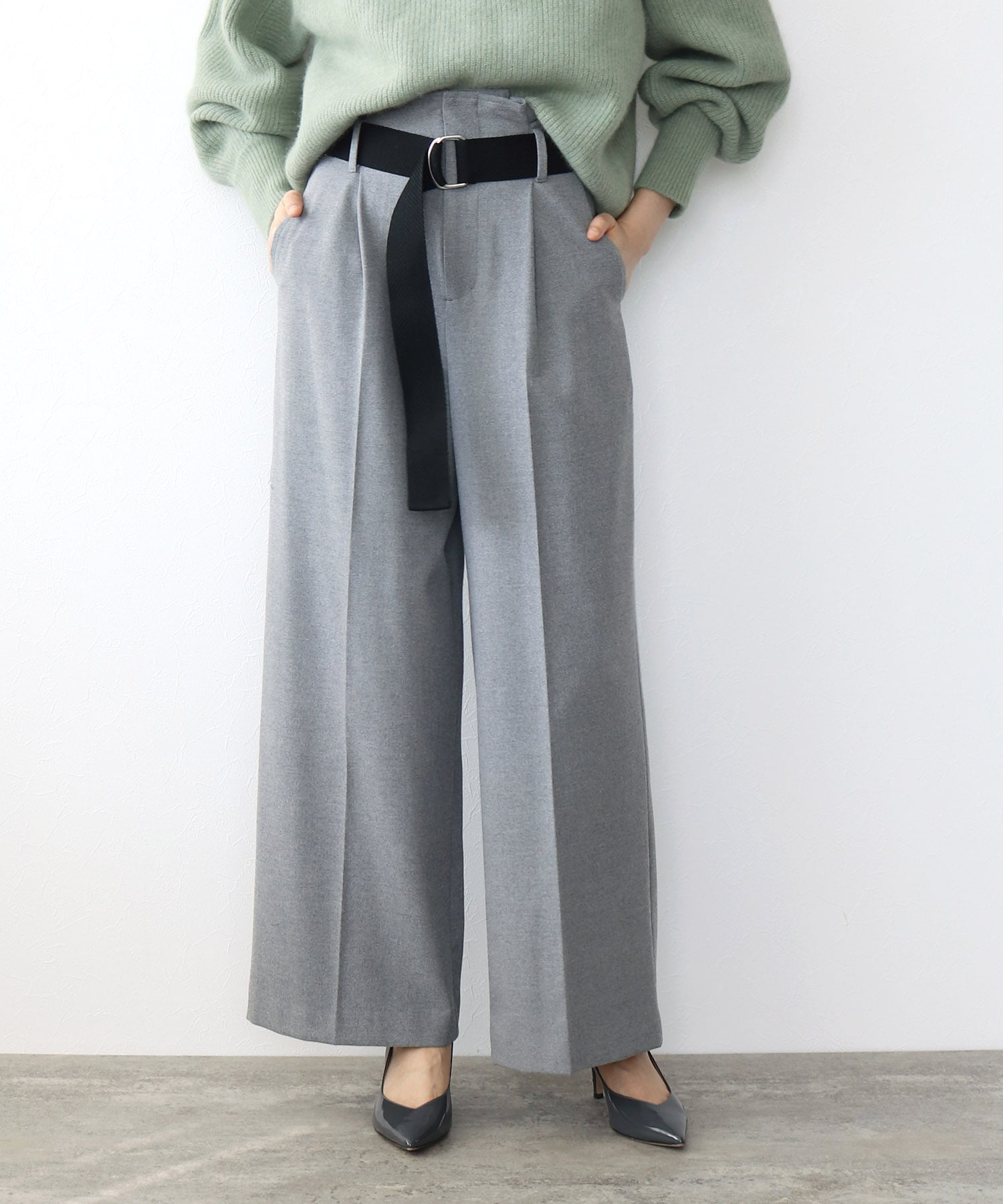 T/R air wide pants round string belt